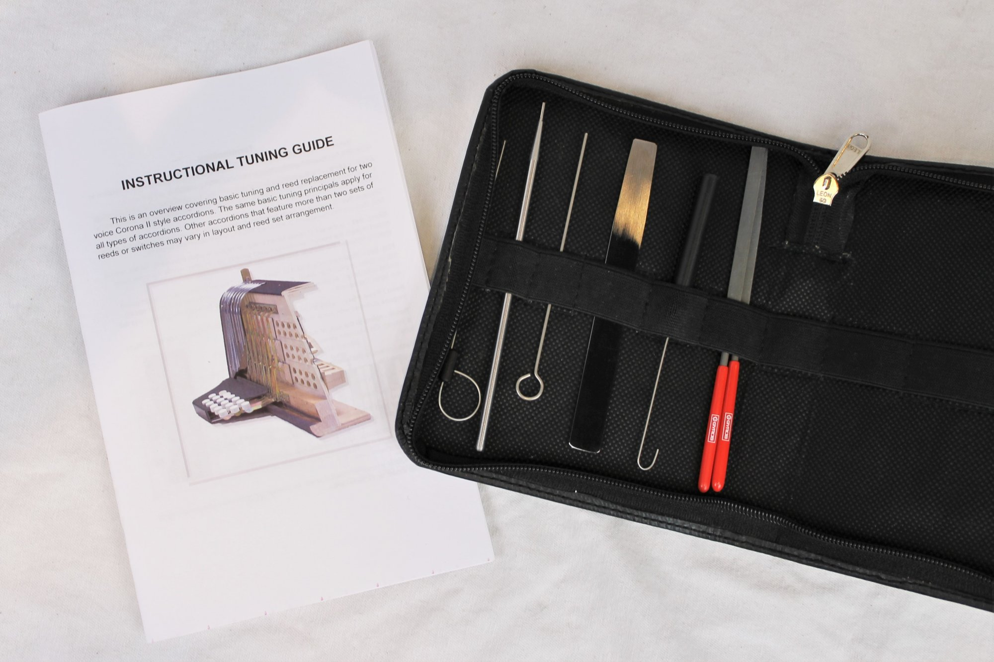 Accordion and Concertina Reed Tuning Kit - Tools and Instructions to Tune Your Instrument