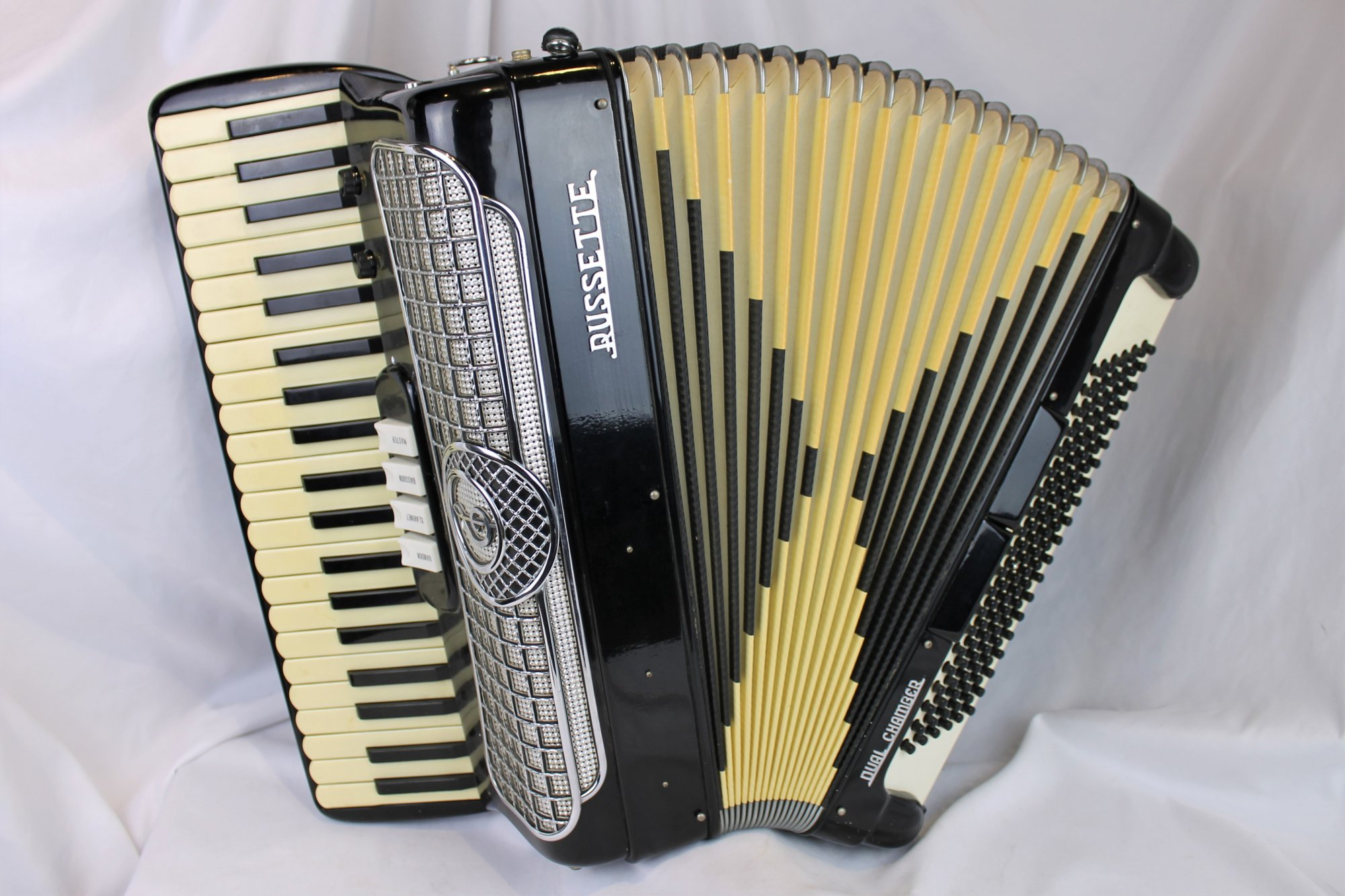 4330 - Black Russette Dual Chamber Piano Accordion LM 41 120