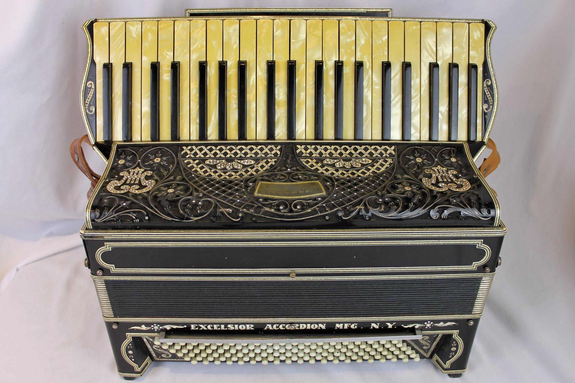 4636 - Black Antique Excelsior Piano Accordion LMM 41 120 - For Parts or Repair