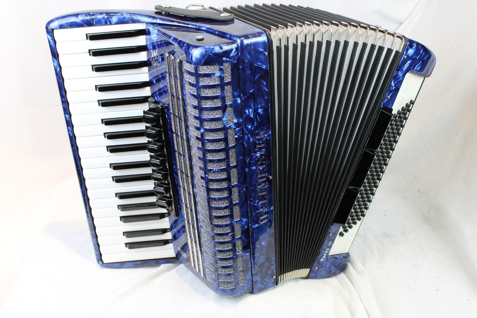 NEW Blue Weltmeister Topas III Piano Accordion LMM 37 96