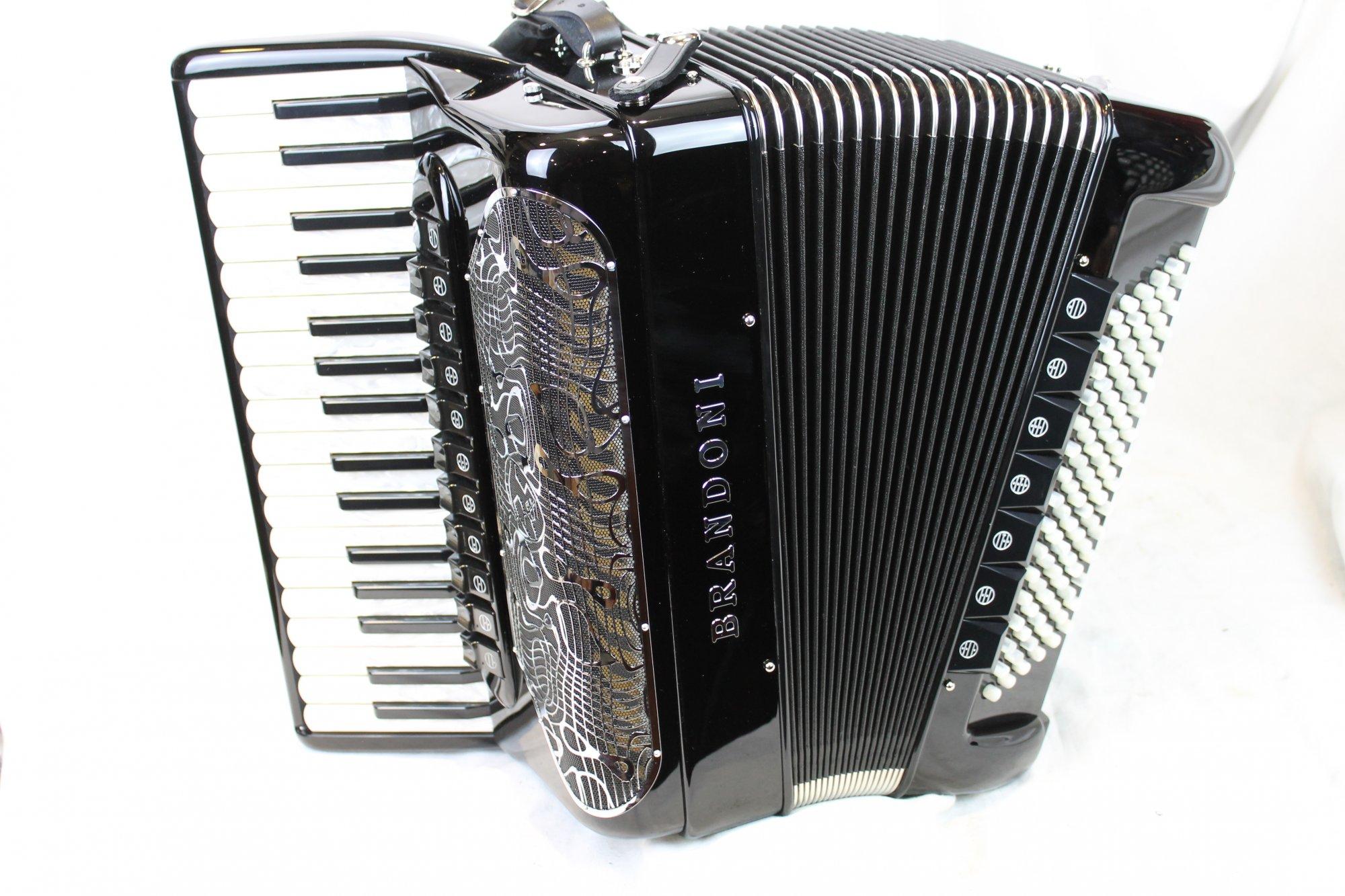NEW Black Brandoni 68C Infinity Piano Accordion LMMH 34 96