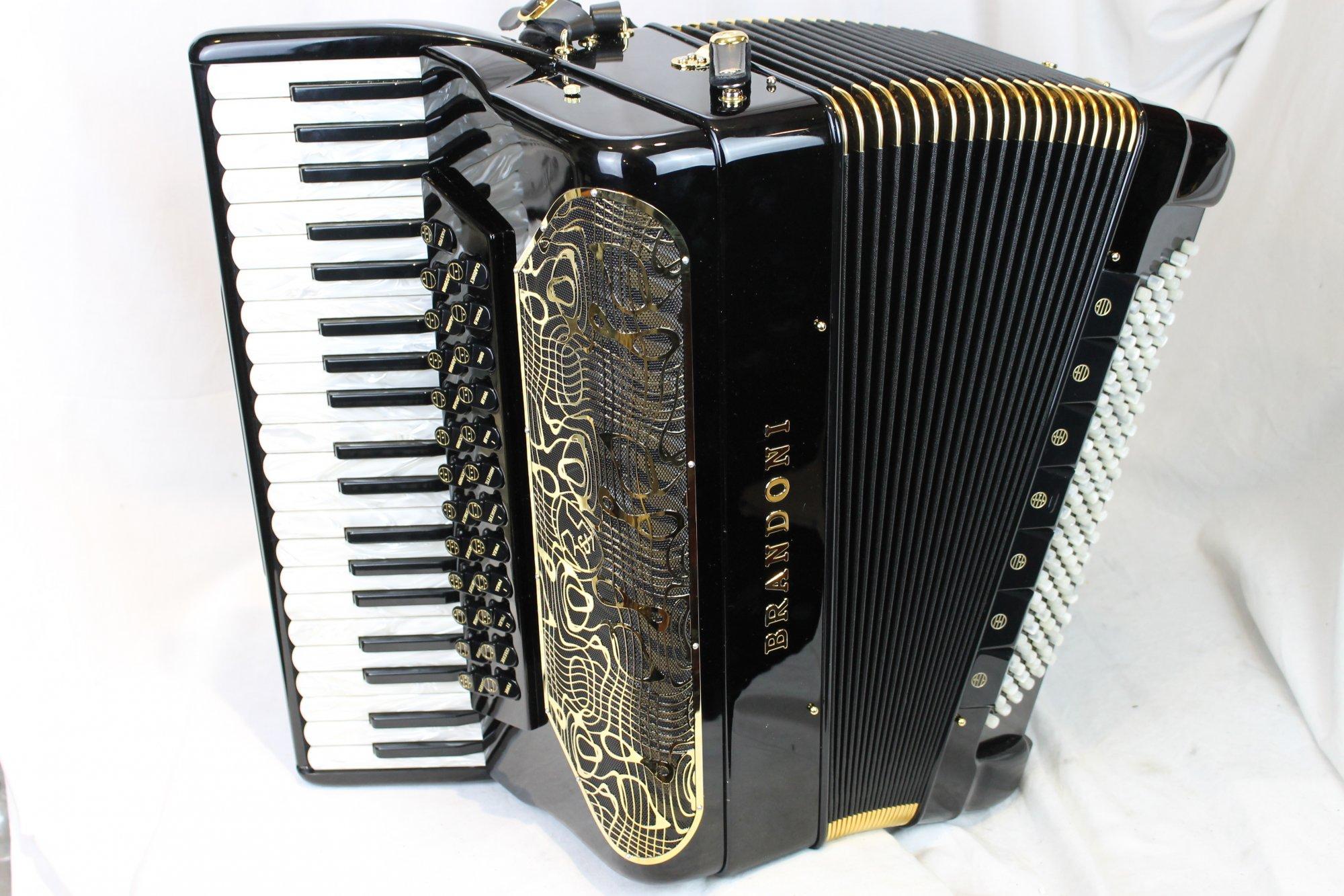 NEW Black Brandoni 149C Infinity Gold Piano Accordion LMMMH 41 120