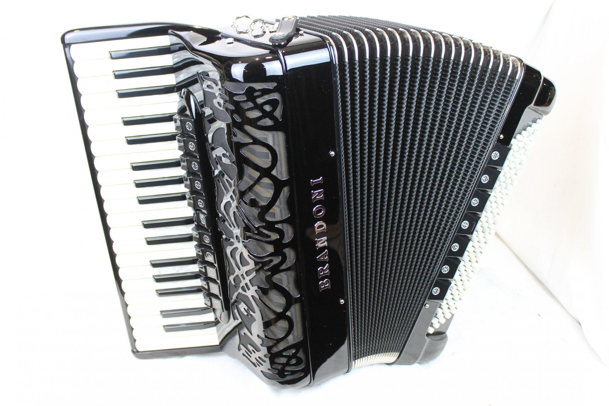 NEW Black Brandoni 130 Liberty Piano Accordion LMMH 37 120