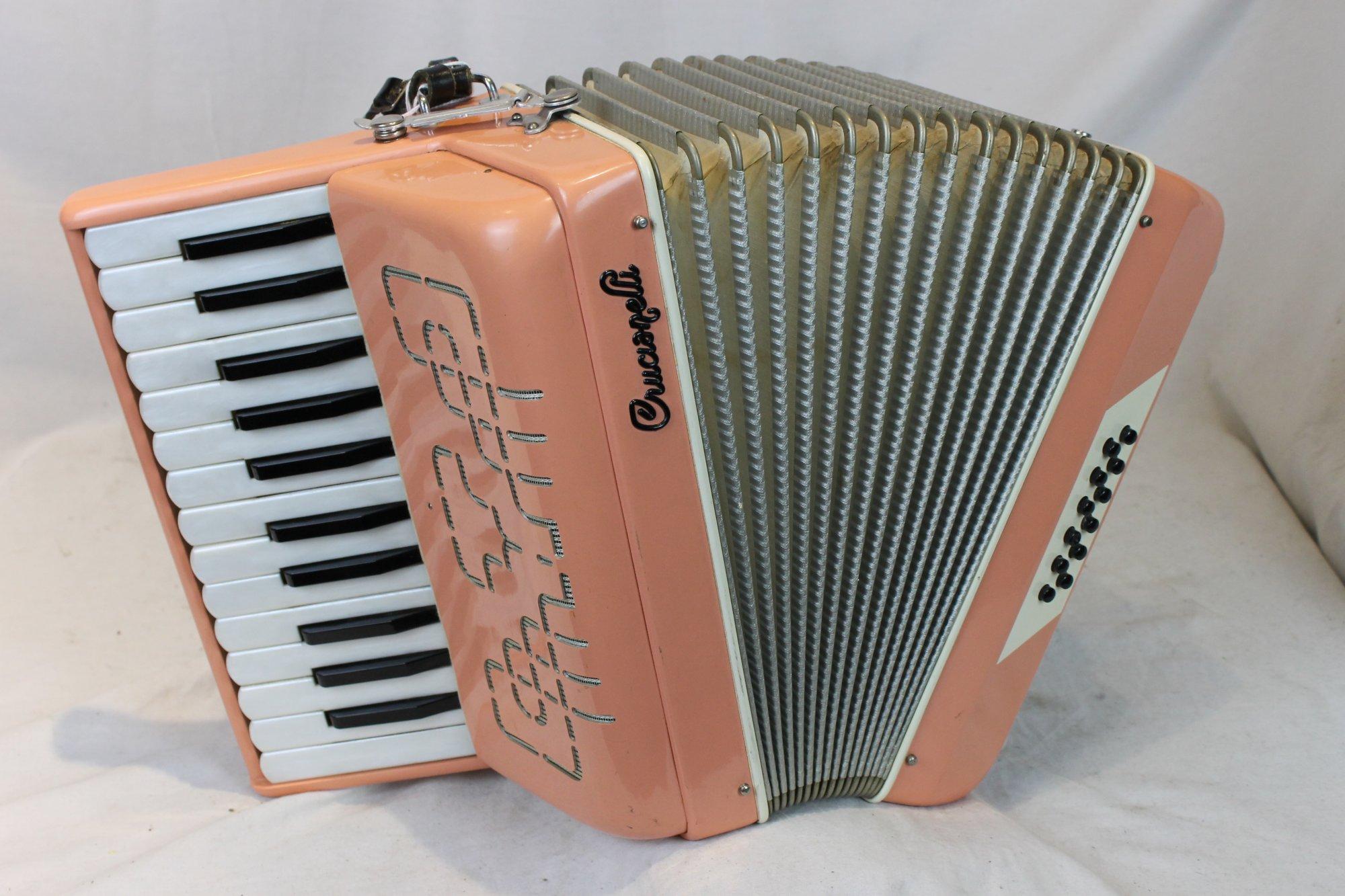 3513 - Peach Crucianelli Piano Accordion LM 25 12