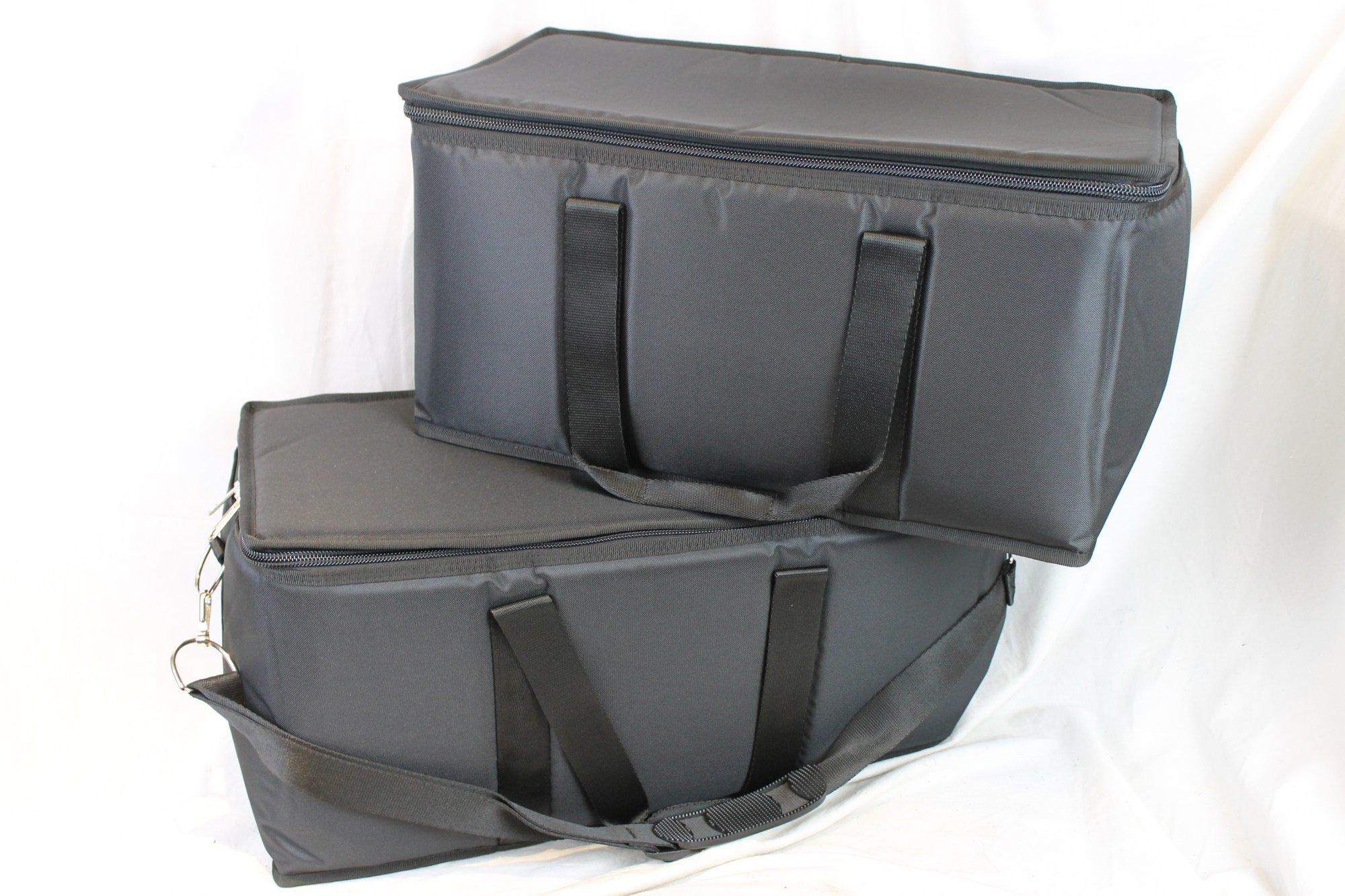 NEW Black Fuselli Dual Gig Bags for Accordion 22 x 11 x 10.5/21 x 10.5 x 10.5