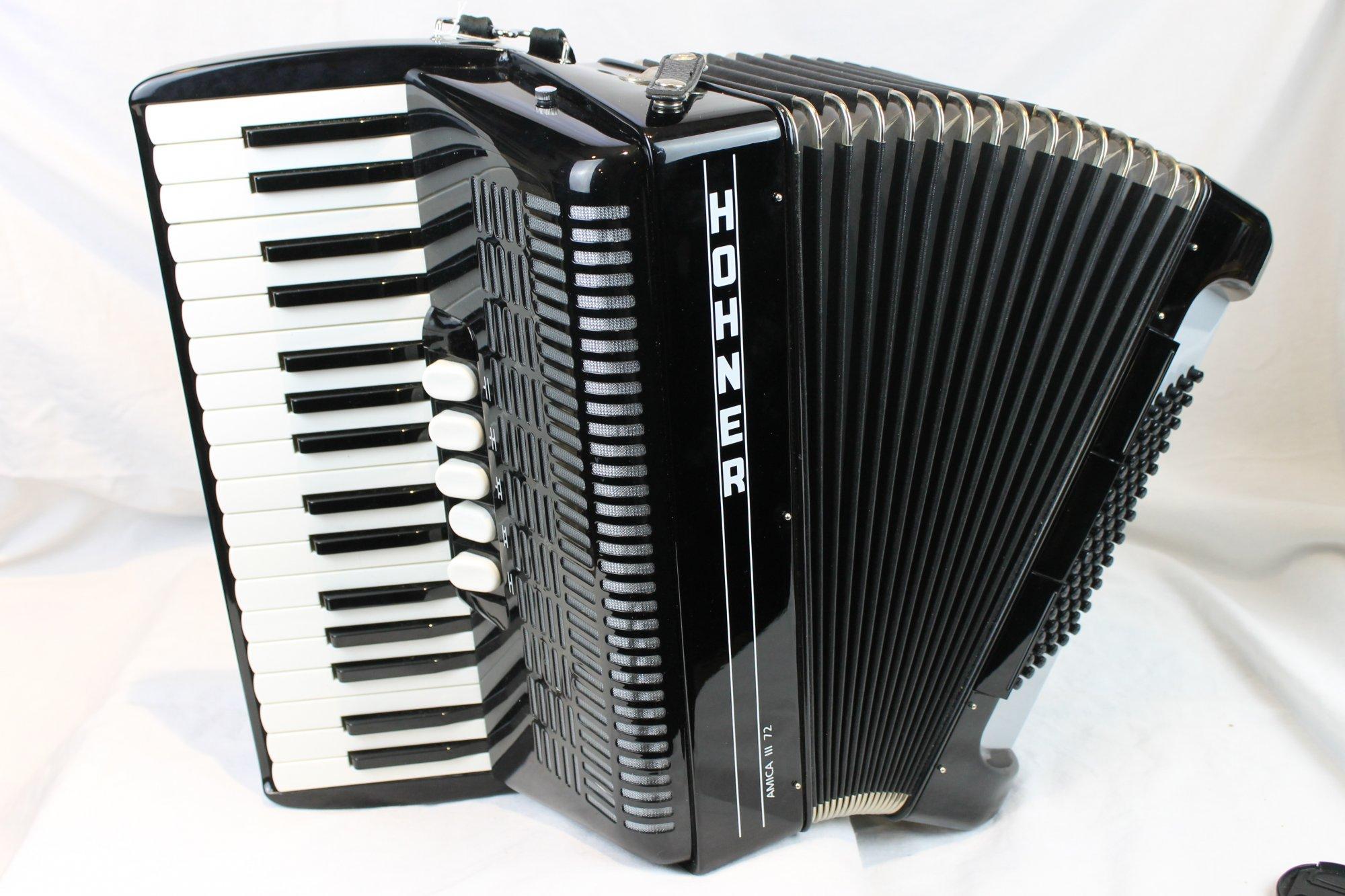 3533 - Black Hohner Amica III Piano Accordion LMM 34 72