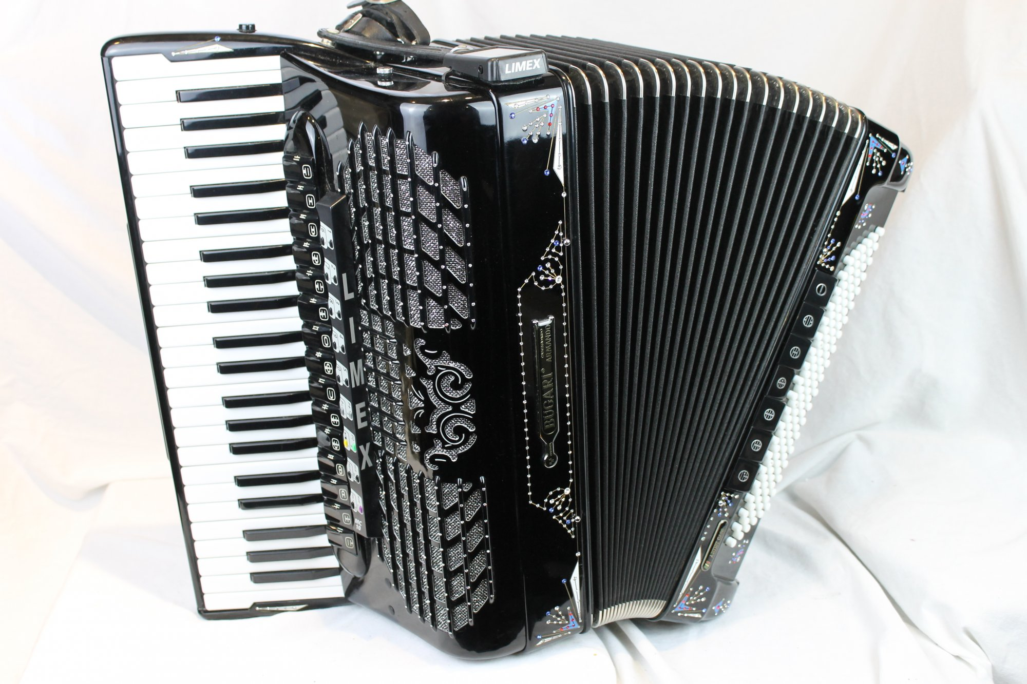 3556 - Decorated Black Bugari Artist Class Piano Accordion LMMMH 45 120