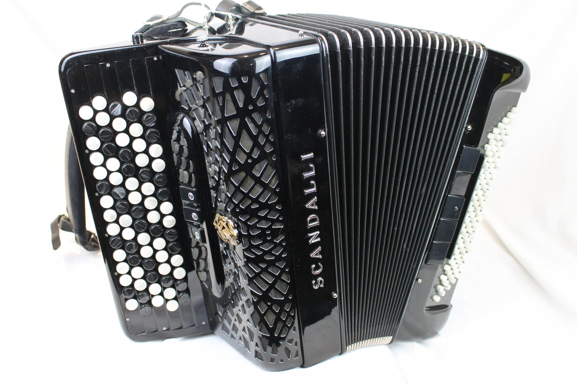 3562 - Certified Pre-Owned Black Scandalli 242 Chromatic Button Accordion Converter B LM 77 96