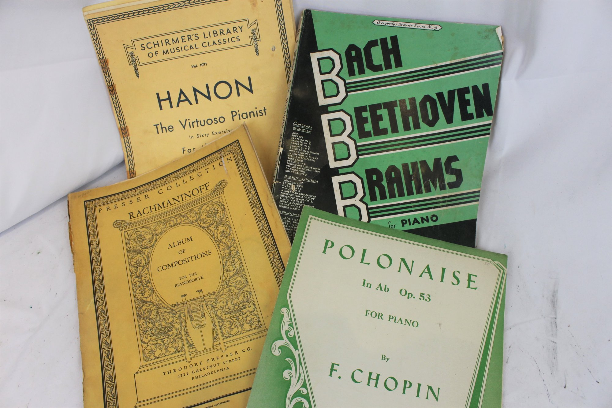 Lot of 4 Used Piano Books and Sheets - Advanced Pieces and Etudes Chopin Bach Brahms Hanon Rachmaninoff