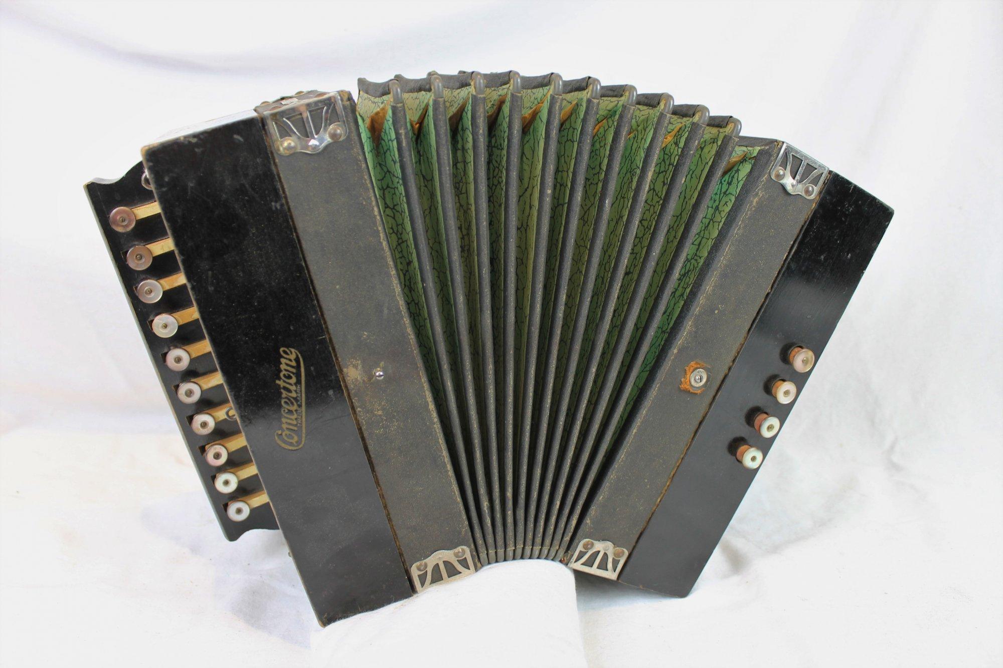 6077 - Black Hohner Concertone Diatonic Button Accordion D MM 10 4