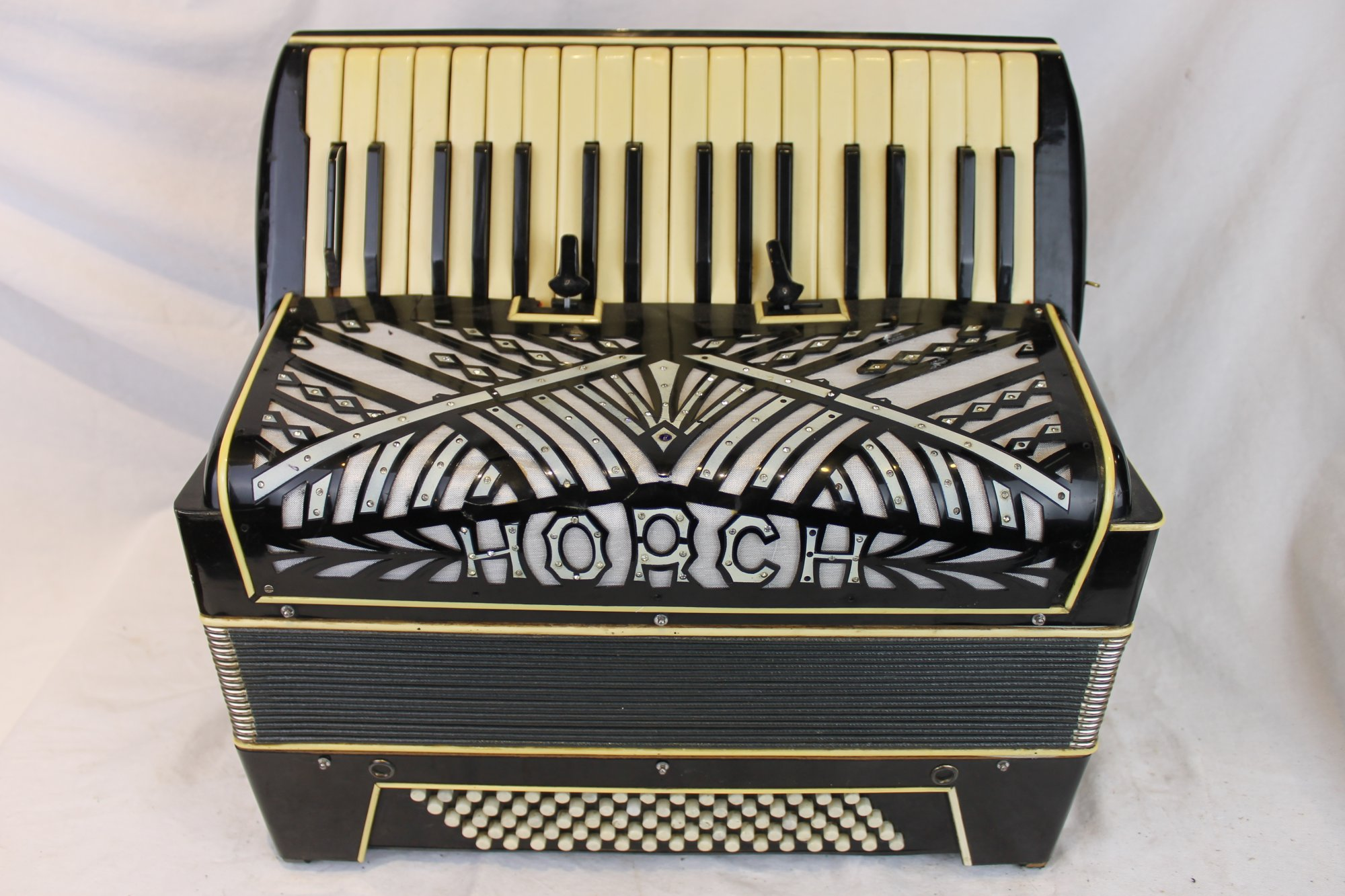 6144 - Black Horch Piano Accordion LMM 34 80 - For Parts or Repair