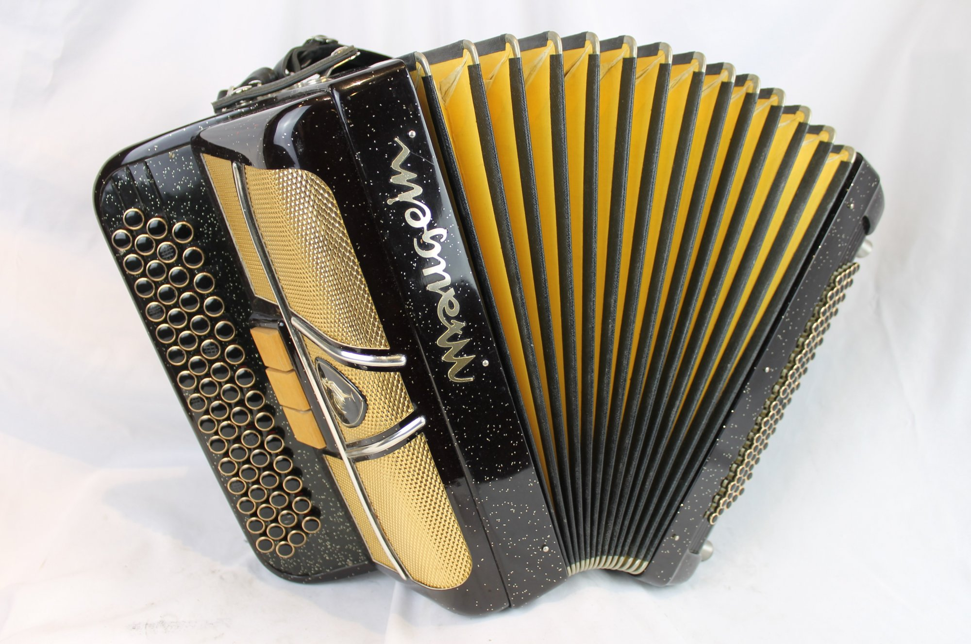 3995 - Black Gold Sparkle Maugein French C System Chromatic Button Accordion MM 60 80