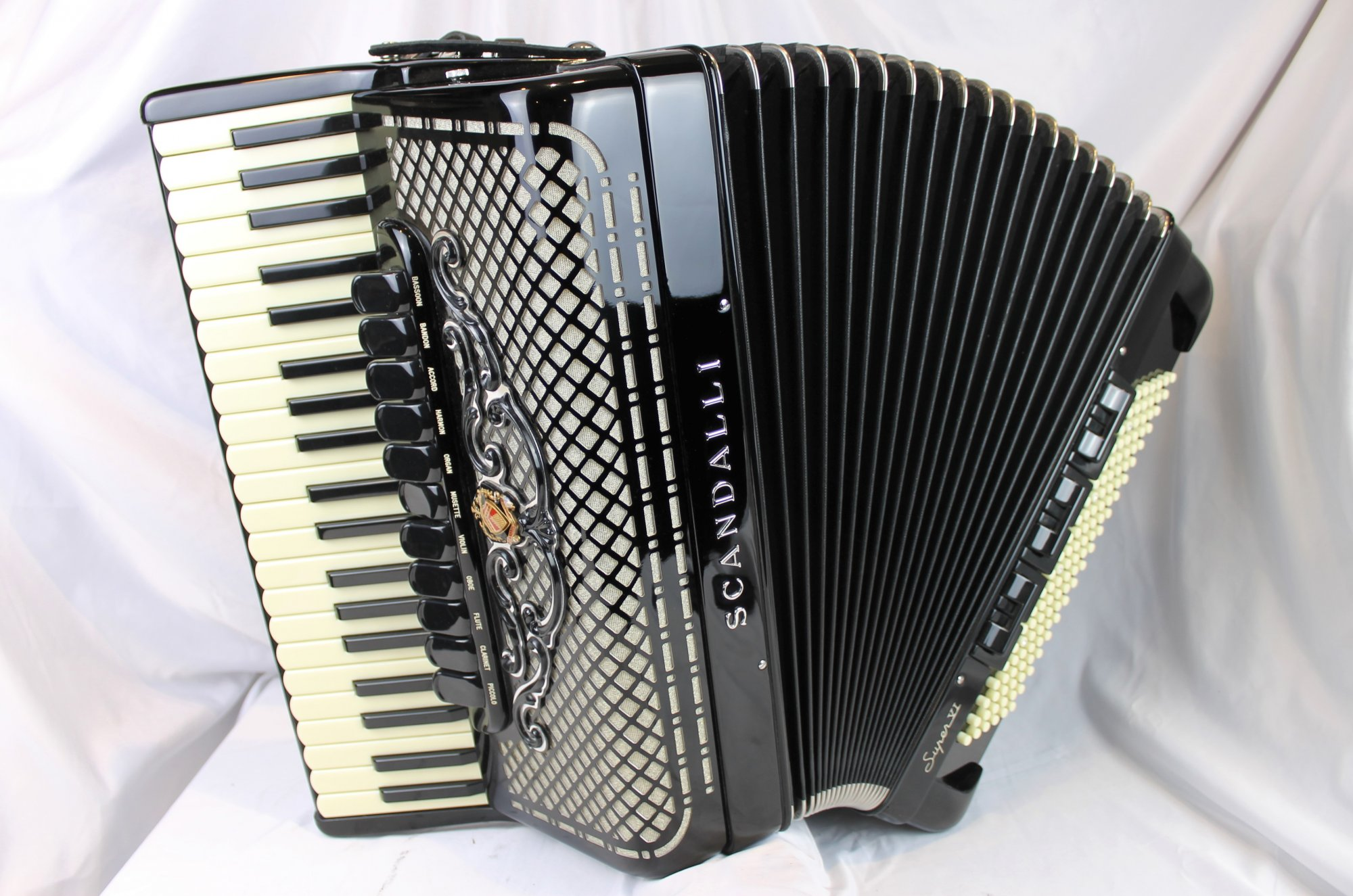 NEW Black Scandalli Super VI Piano Accordion LMMH 41 120