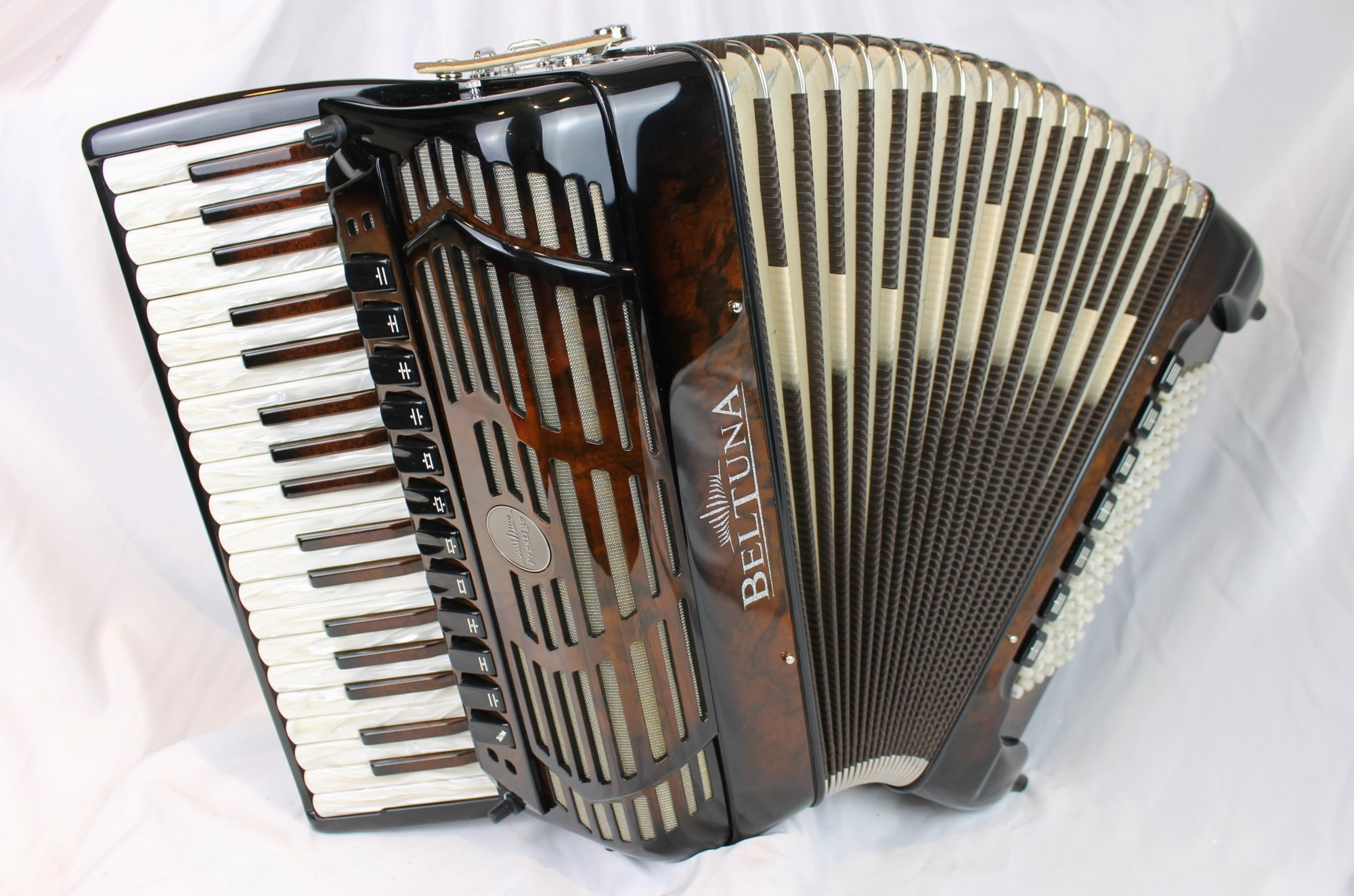 NEW Walnut Root Beltuna Prestige IV Piano Accordion LMMH 37 96 with Microphones