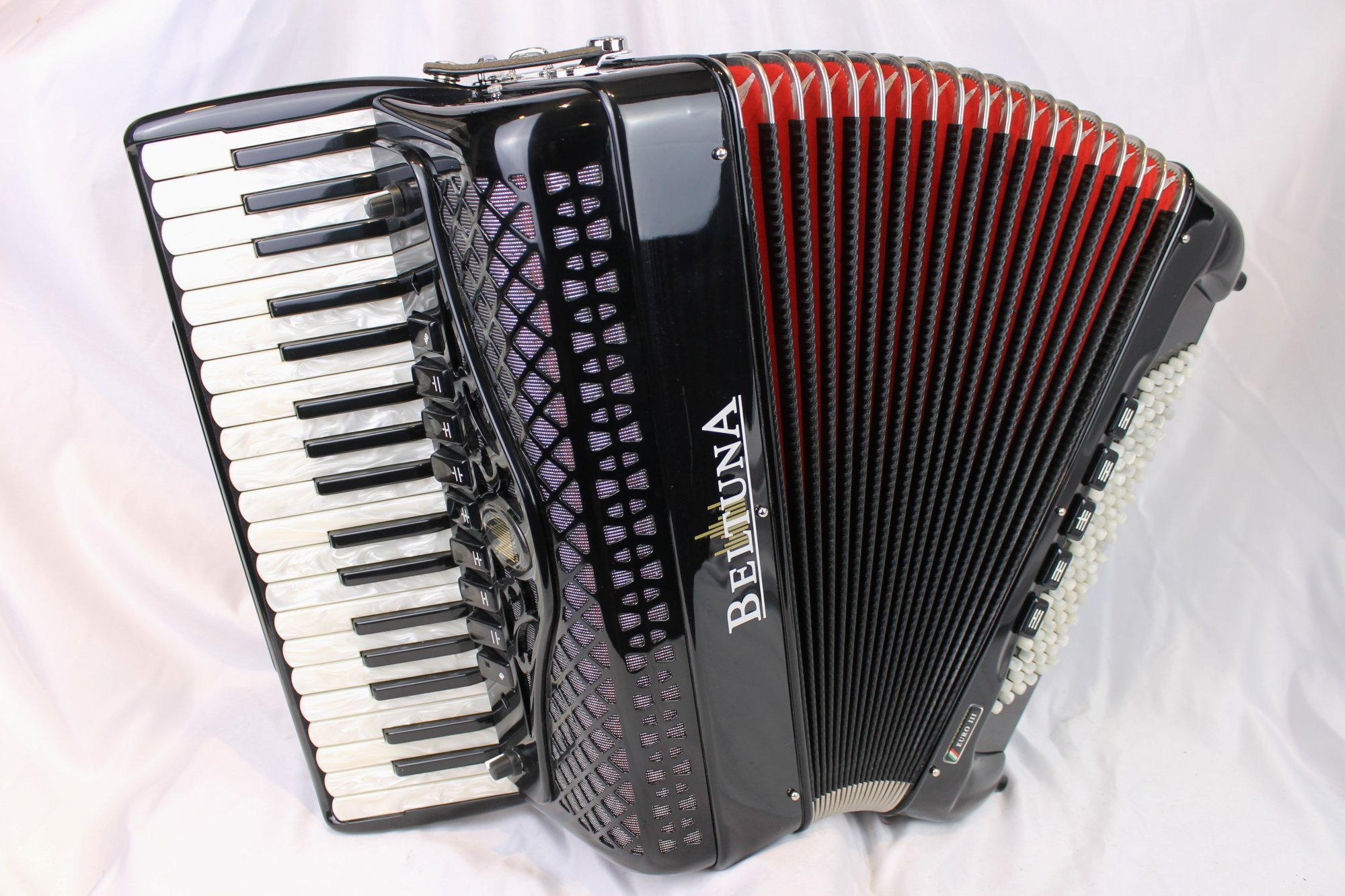 5014 - Like New Black Beltuna Euro III Piano Accordion LMH 37 96