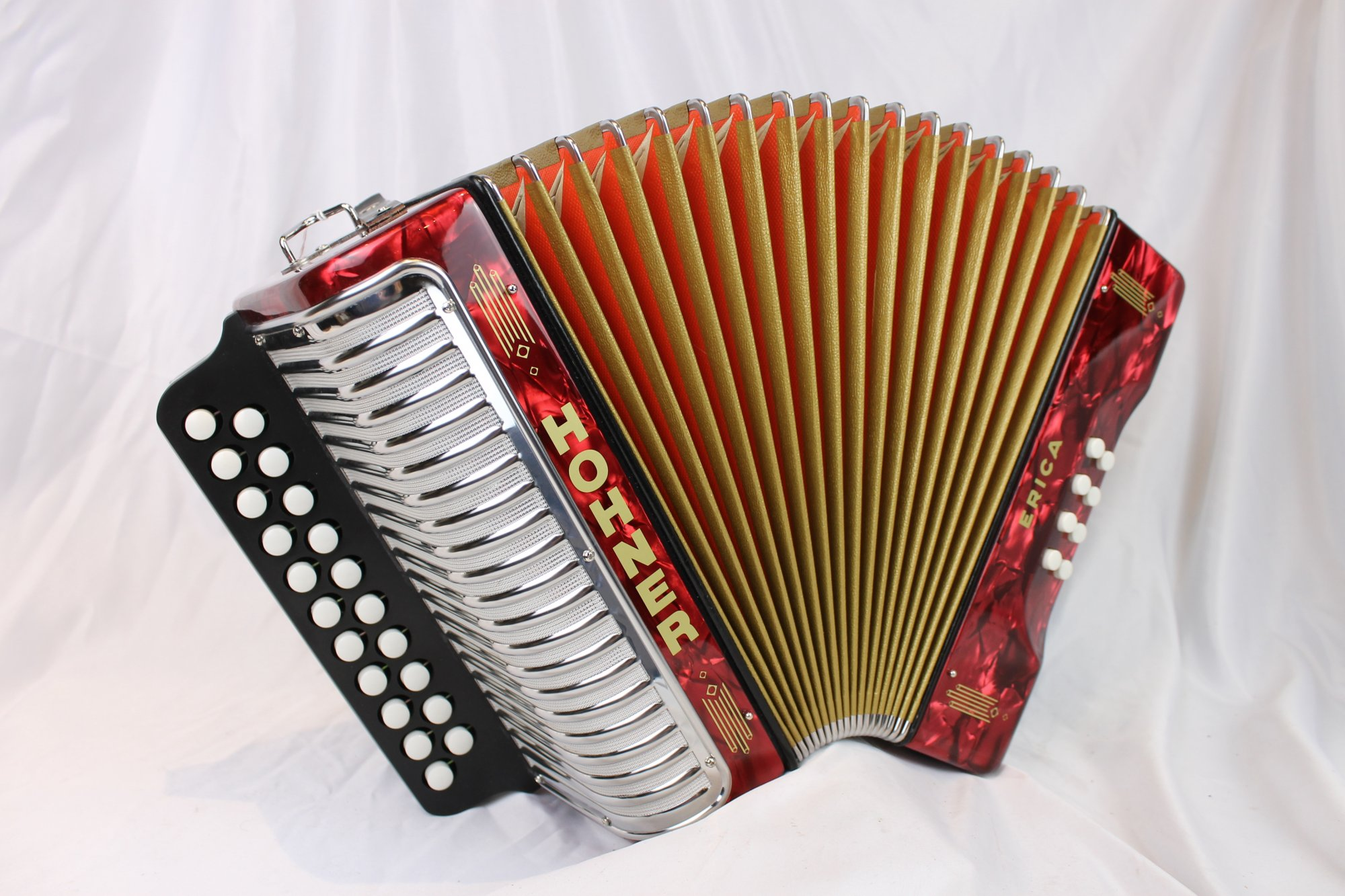 NEW Red Hohner Erica Diatonic Button Accordion GC MM 21 8