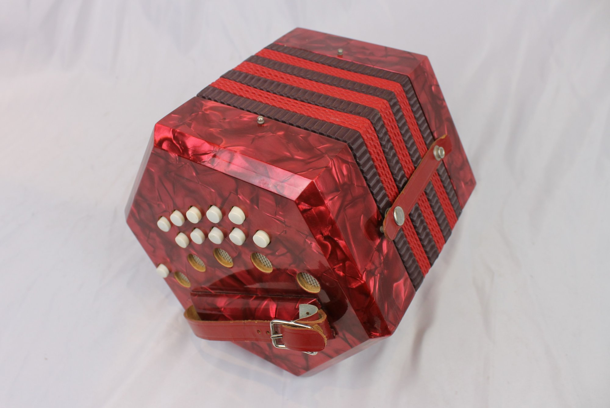 5110 - Red Italian Anglo Concertina CG 20