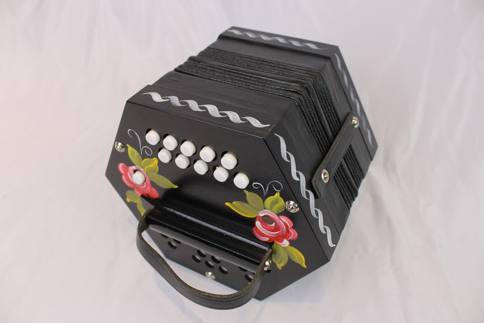 NEW Black Floral German Anglo Concertina CG M 20
