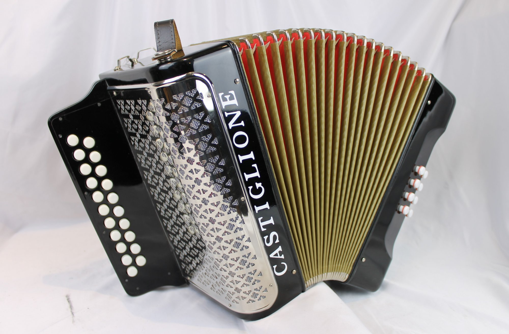5183 - Like New Black Castiglione Diatonic Button Accordion AD 21 8