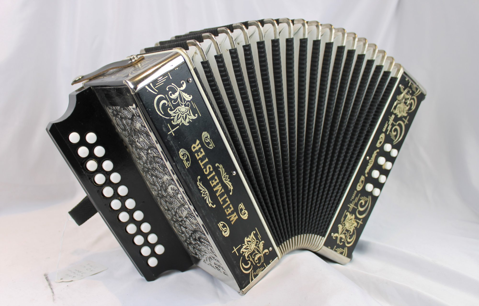 5173 - Black Weltmeister 86W Diatonic Button Accordion AD MM 21 8
