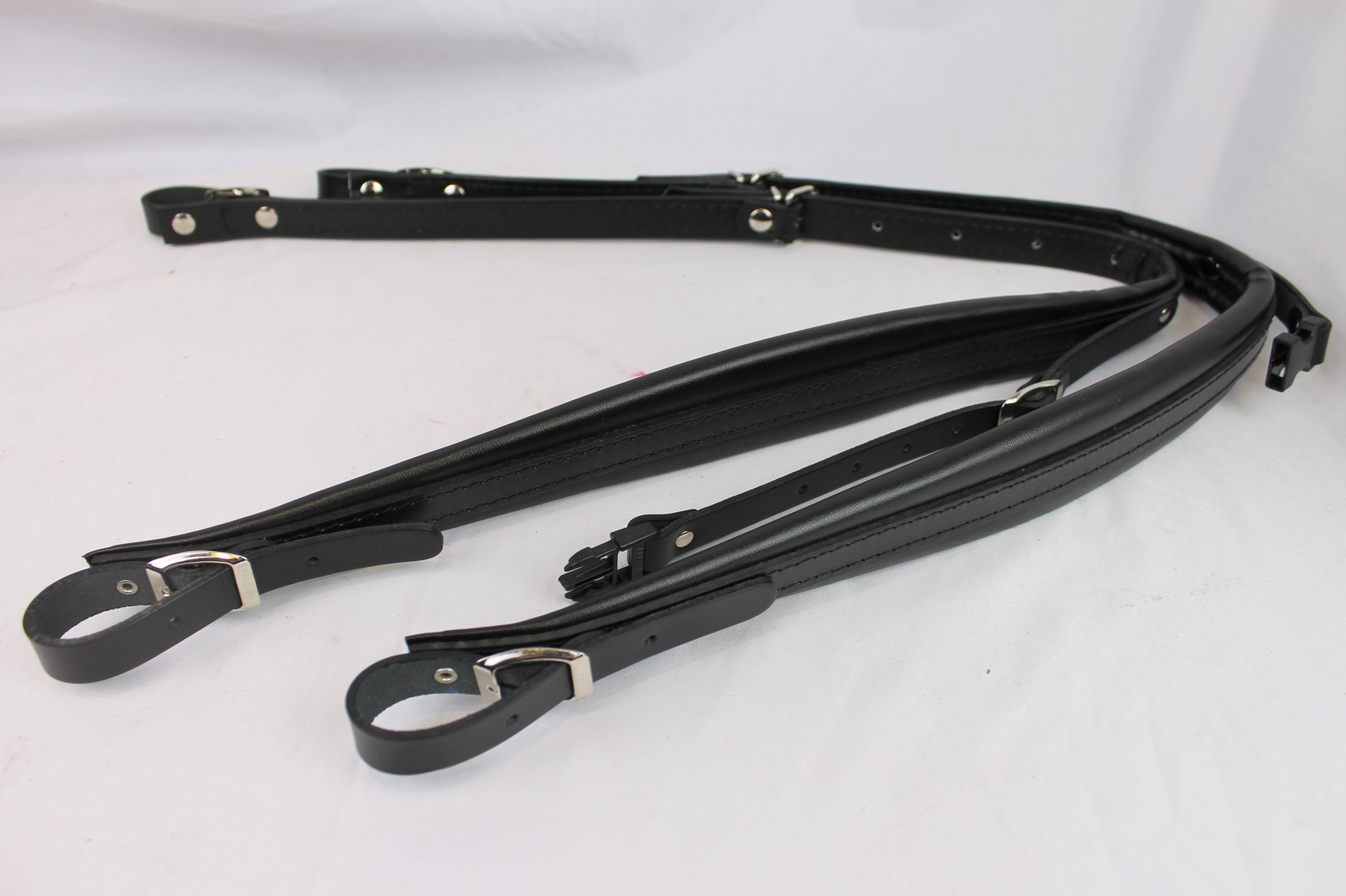 New Black Leather Accordion Shoulder Straps with Back Strap Width (5cm / 2in) Length (82.5~106.75cm / 32.5~42in)