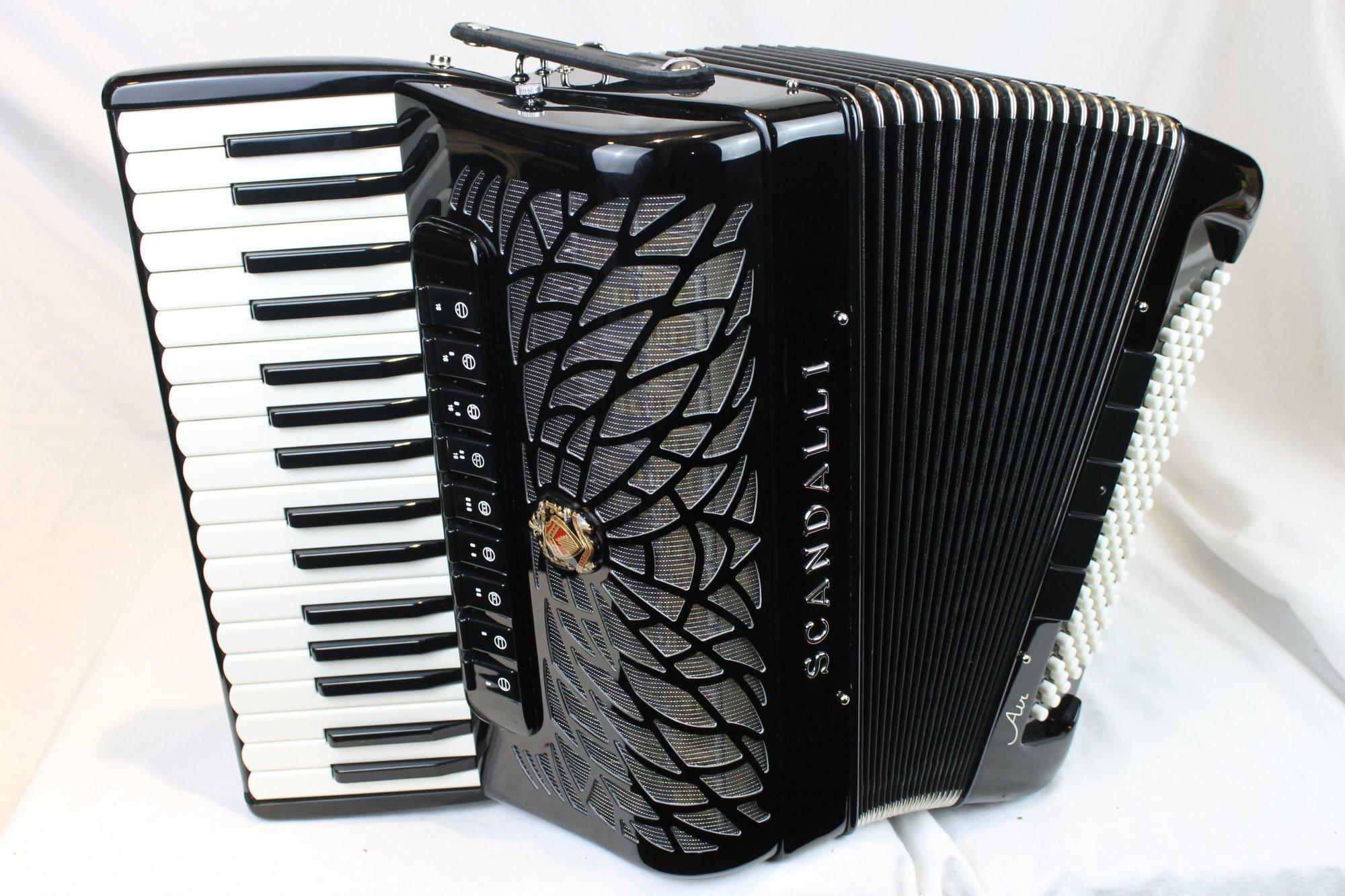NEW Black Scandalli Air II Piano Accordion LMMM 34 96