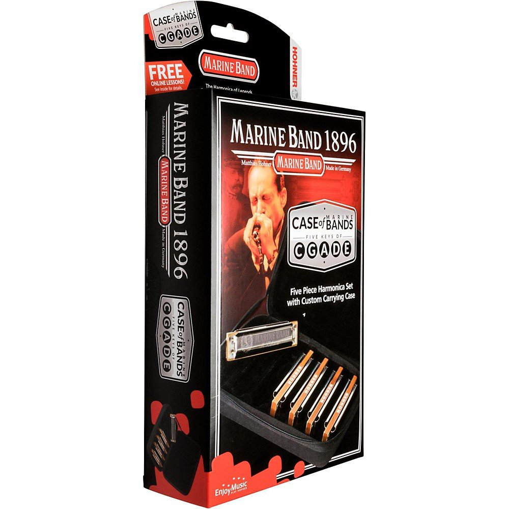 New Hohner Marine Band Harmonica Bundle C, G, A, D, and E
