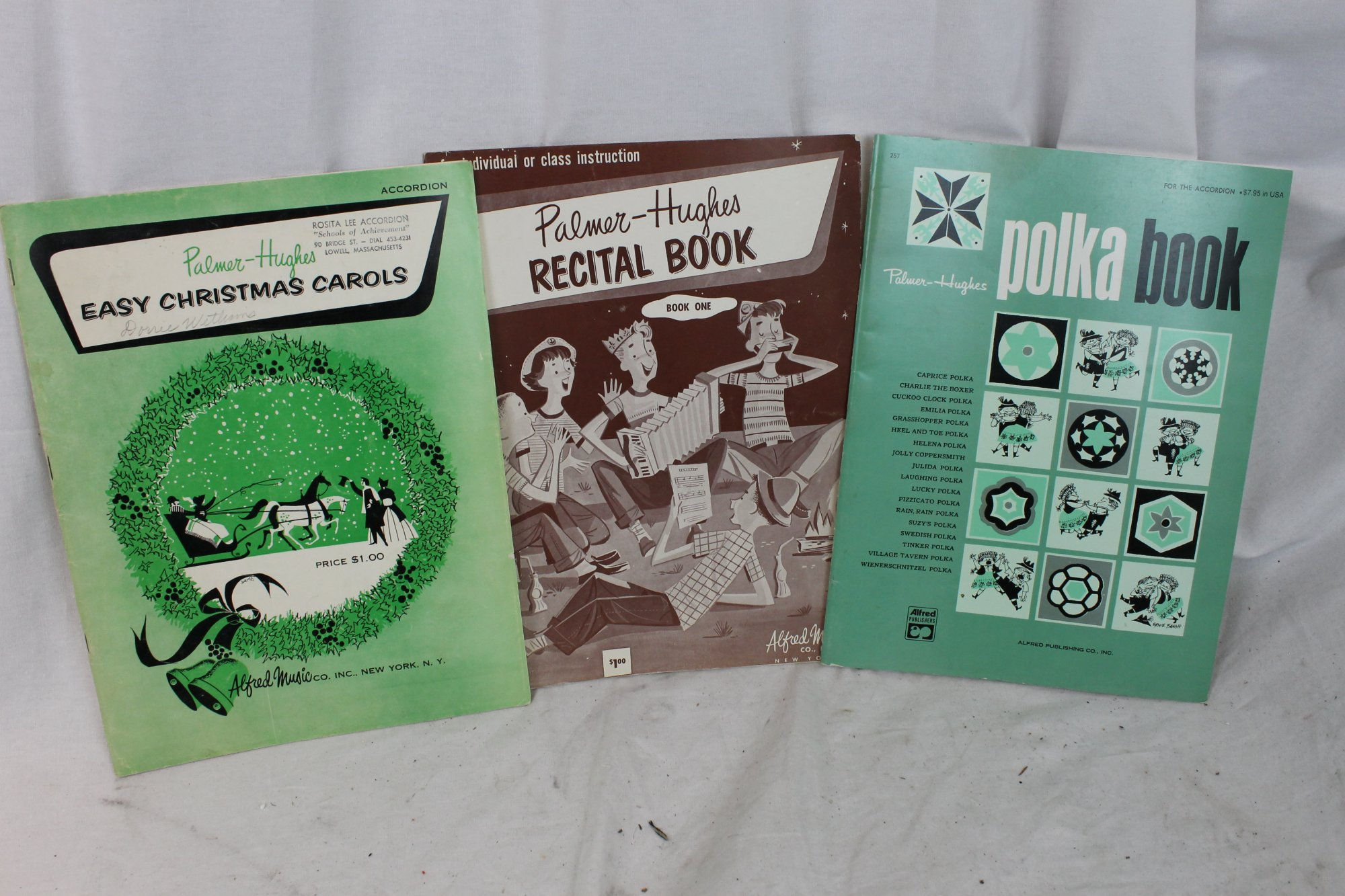 Palmer Hughes Accordion Books Lot Recital Book 1, Easy Christmas Carols, Polka Book