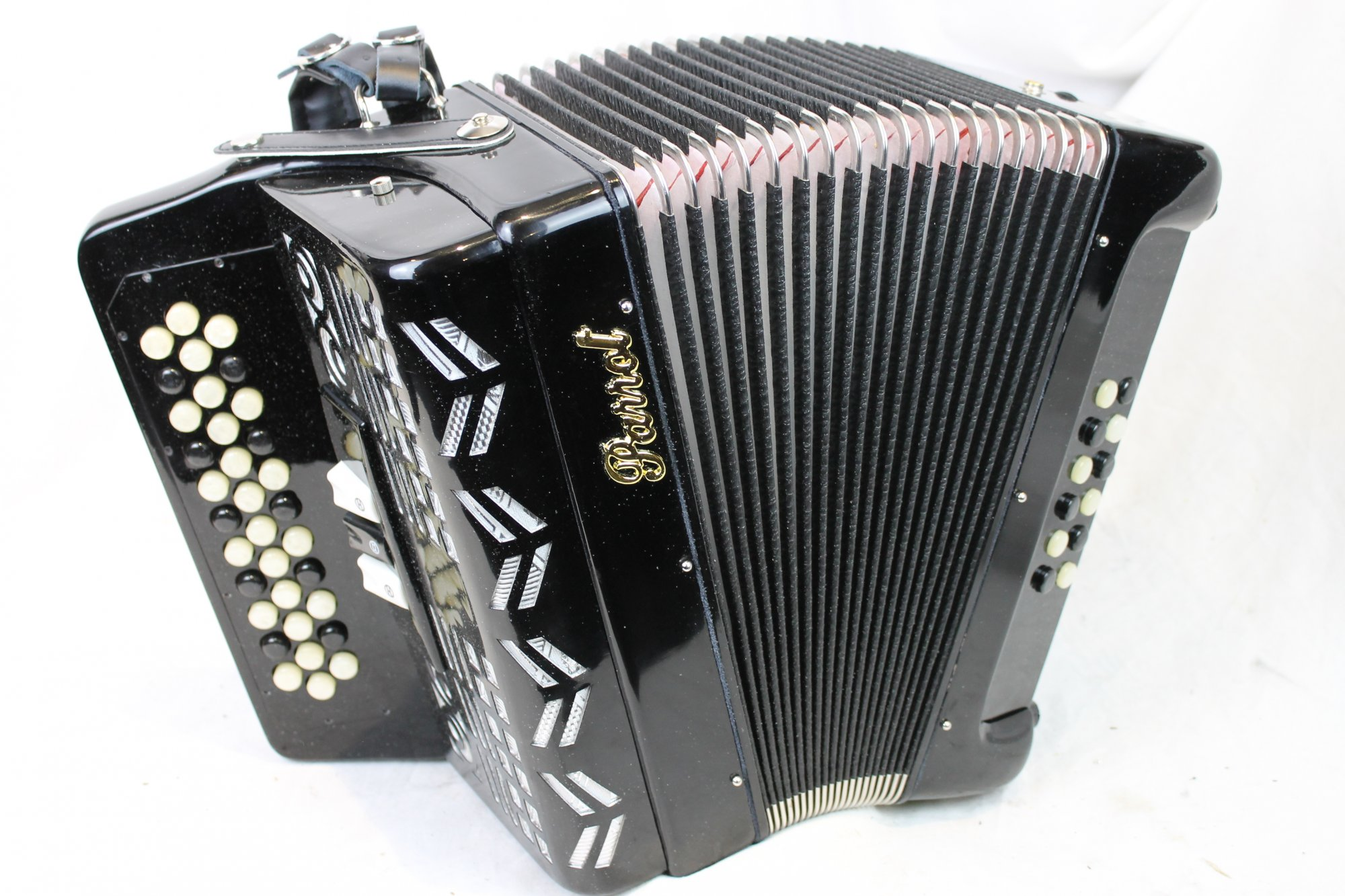 NEW Black Parrot Hawk Diatonic Button Accordion 3 Switch GCF Sol MM 34 12
