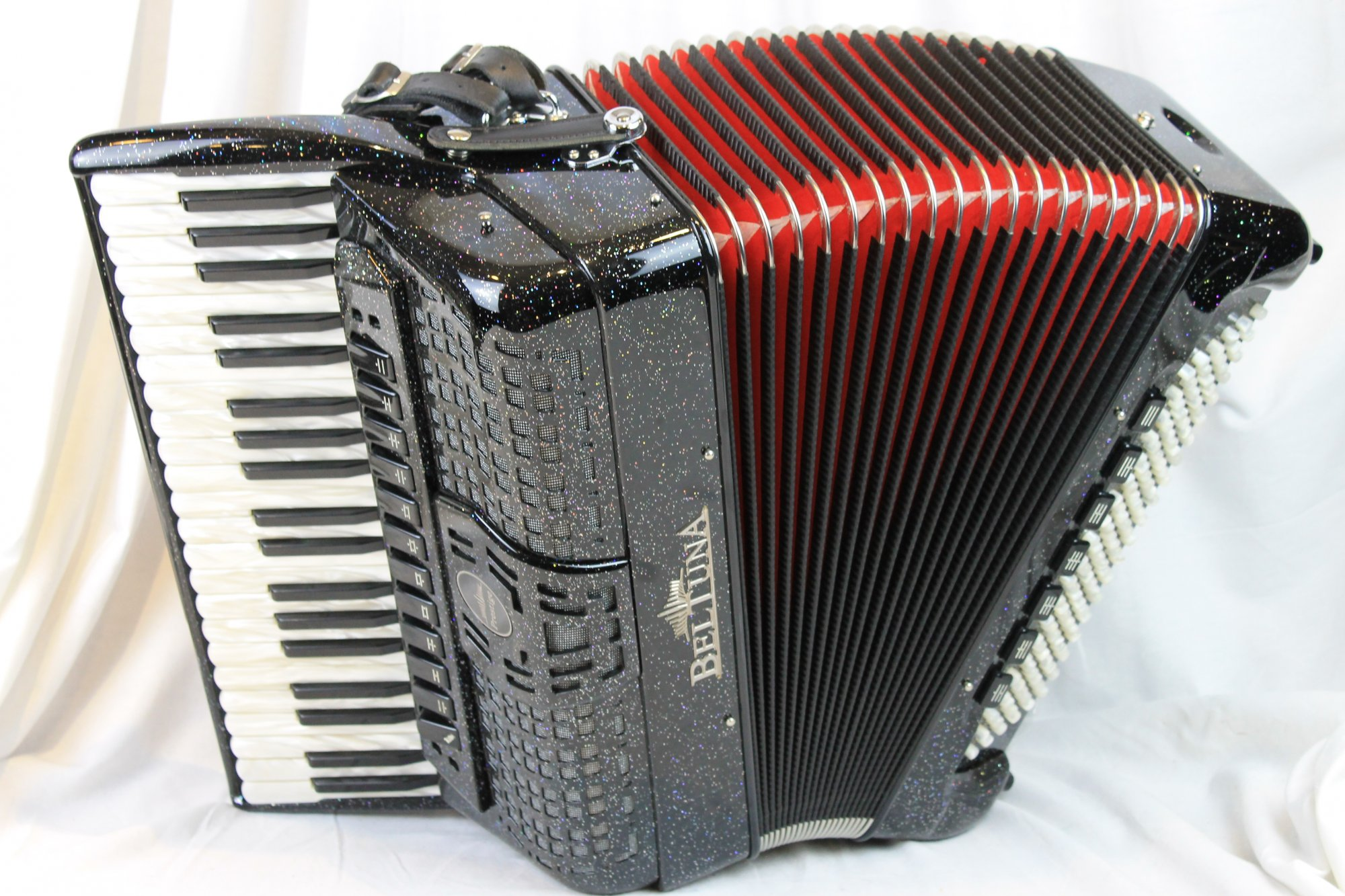 NEW Black Sparkle Beltuna Prestige IV Piano Accordion LMMH 41 120