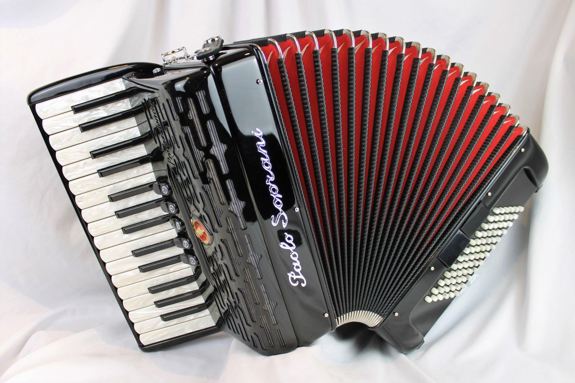 NEW Black Paolo Soprani Professionale Piano Accordion LMM 30 72