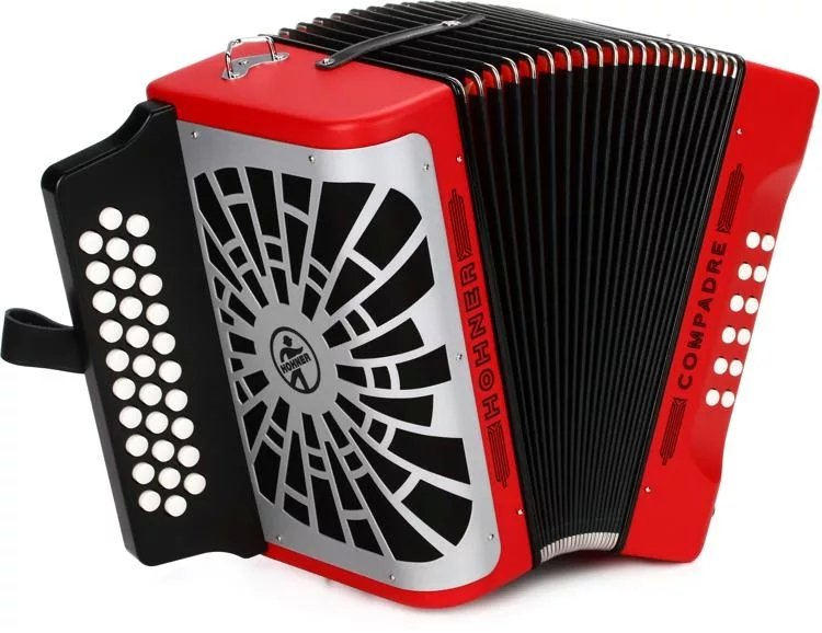 NEW Red Hohner Compadre Diatonic Button Accordion GCF Sol 31 12
