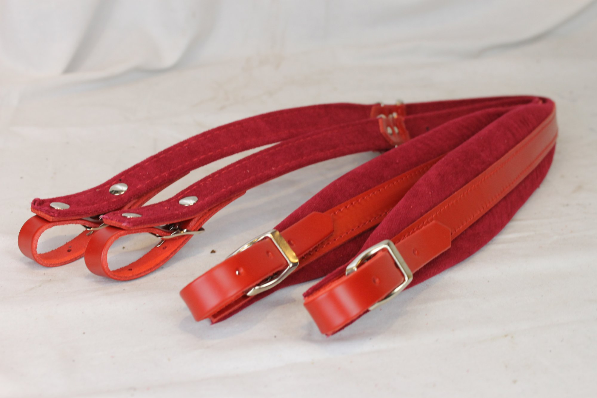 New Red Leather Velour Fuselli Accordion Shoulder Straps Width (6cm / 2.4in) Length (91~111cm / 35.8~43.7in)