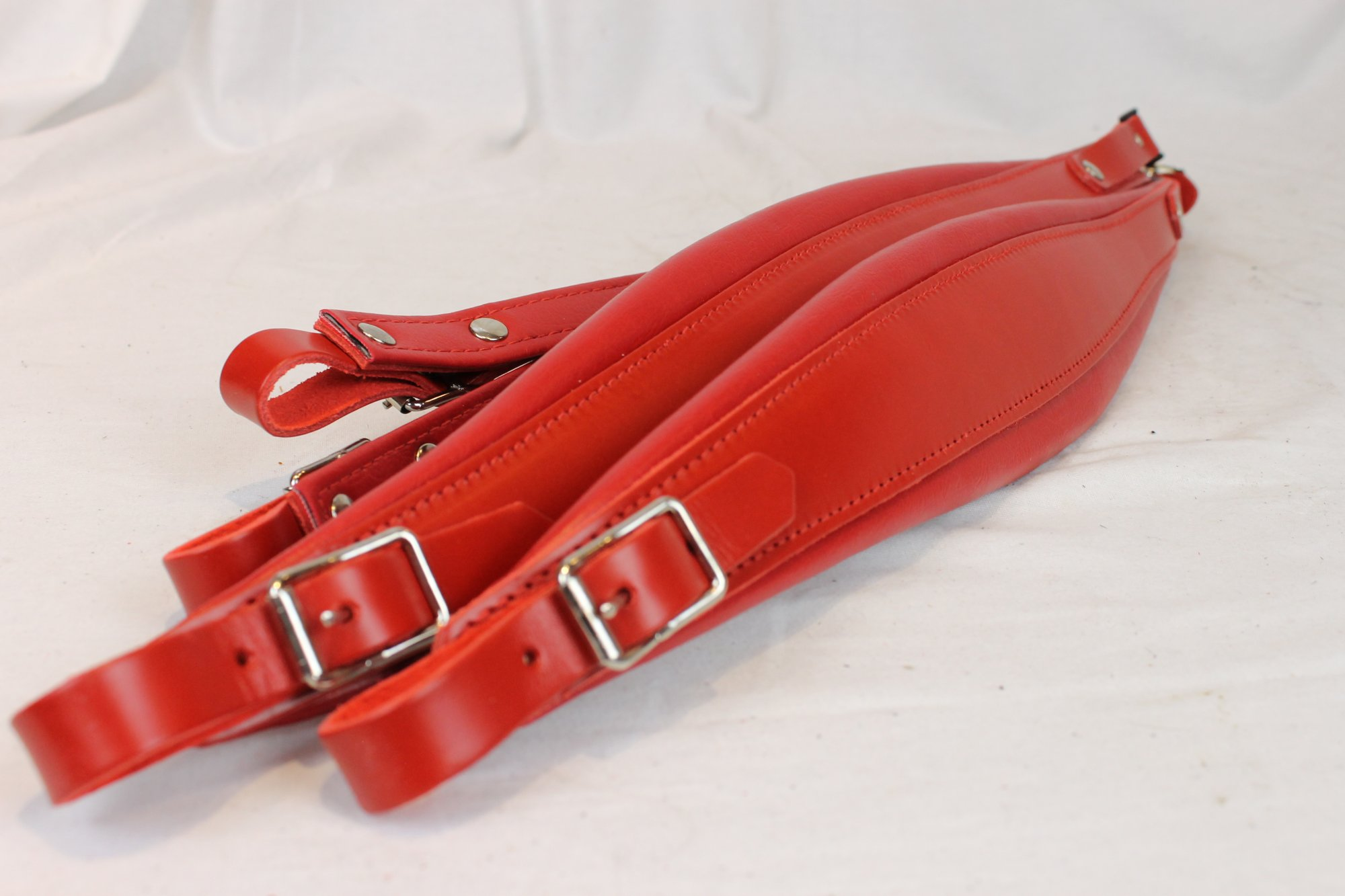 New Red Leather Fuselli Accordion Shoulder Straps With Back Straps Width (9cm / 3.5in) Length  (95cm-115cm / 37.4-45.3 inch)