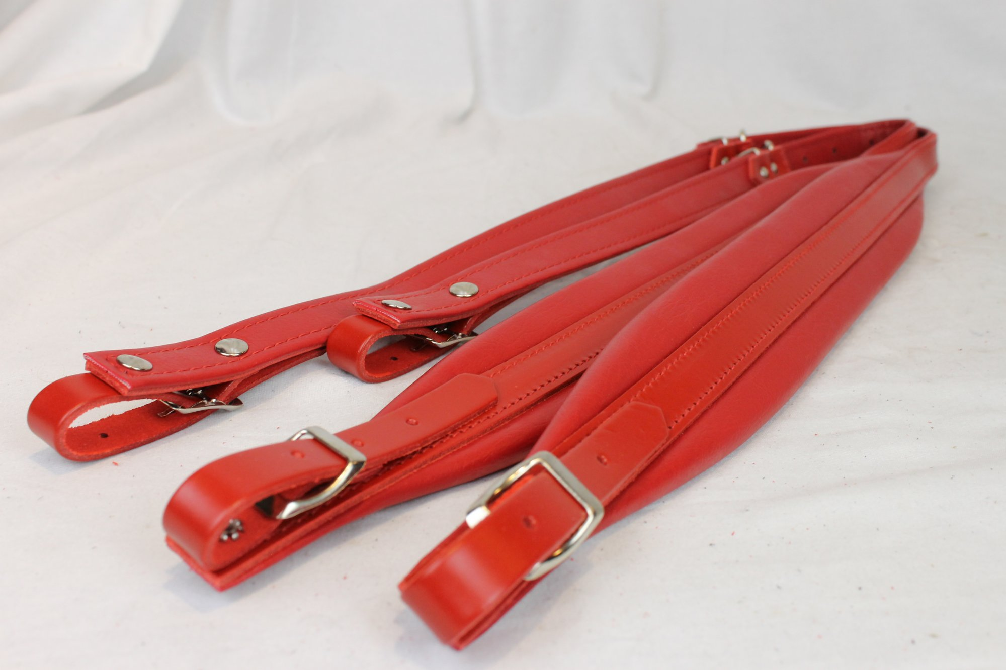 New Red Leather Fuselli Accordion Shoulder Straps Width (6 cm / 2.4 inch) Length (91cm-111cm / 35.8-43.7 inch)