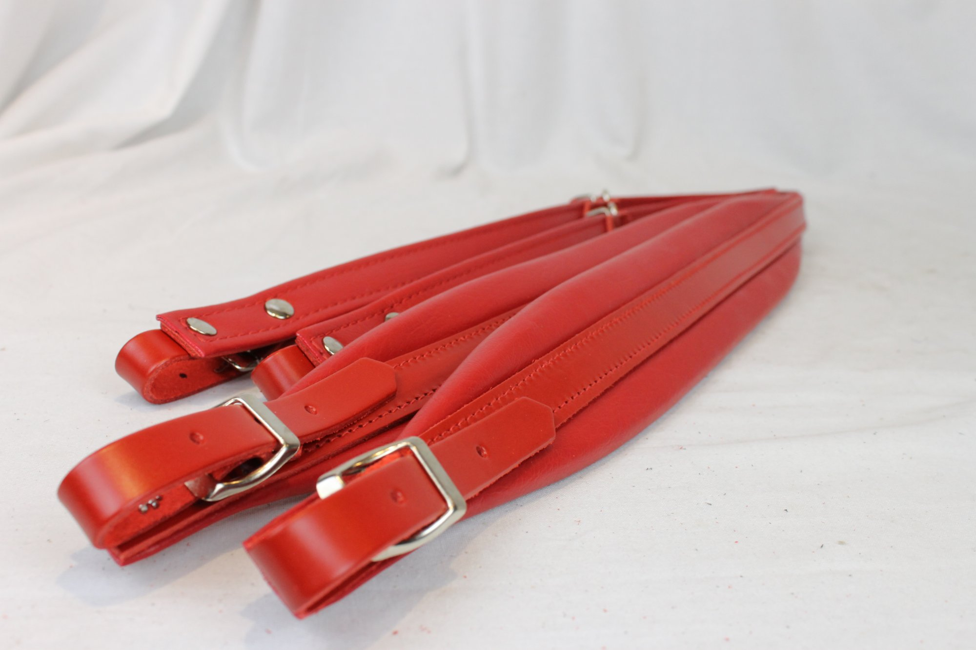 New Red Leather Fuselli Accordion Shoulder Straps Width (6cm / 2.4in) Length (85~105cm / 33.5~41.3in)