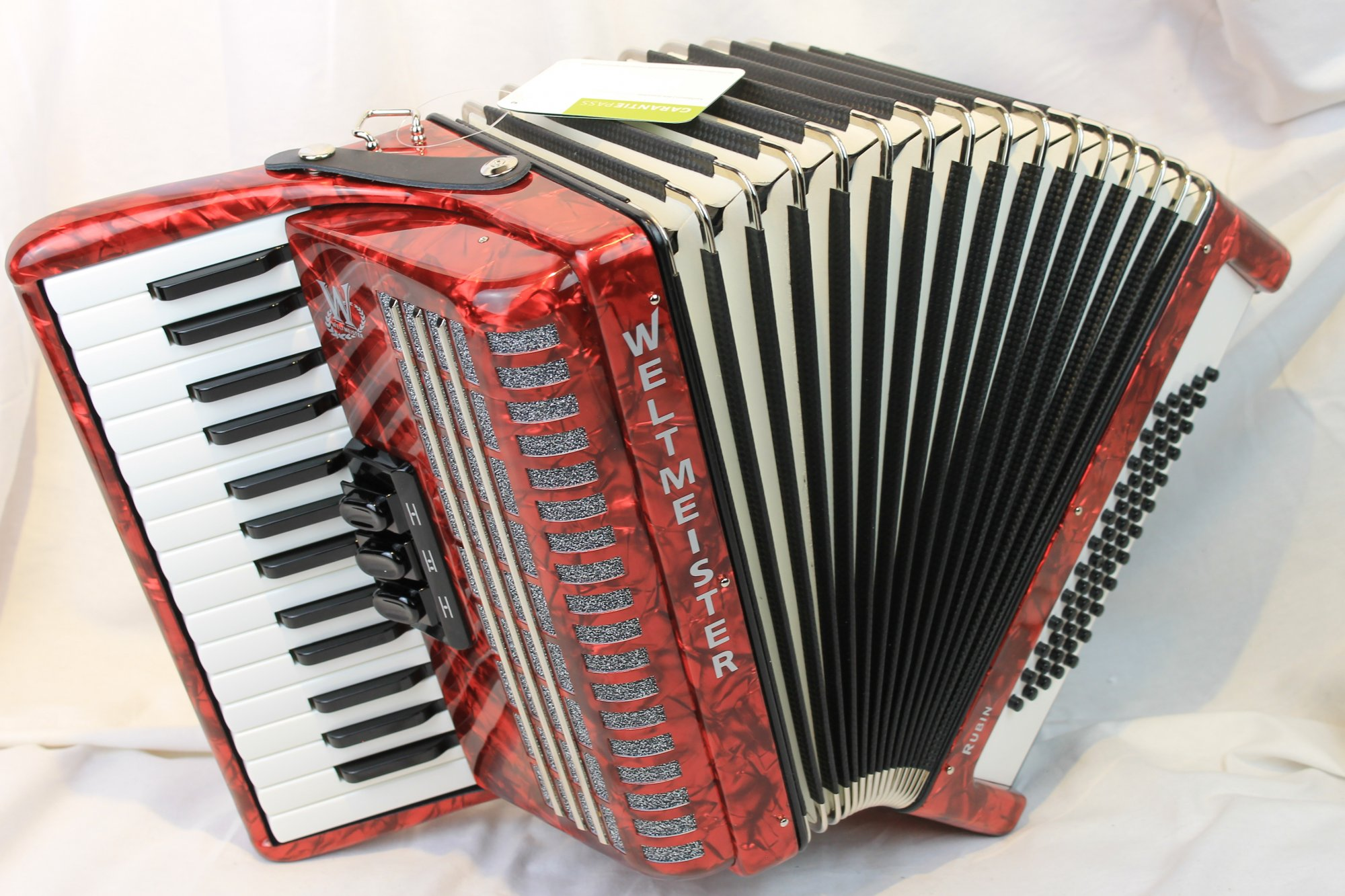 NEW Red Weltmeister Rubin Piano Accordion MM 30 60