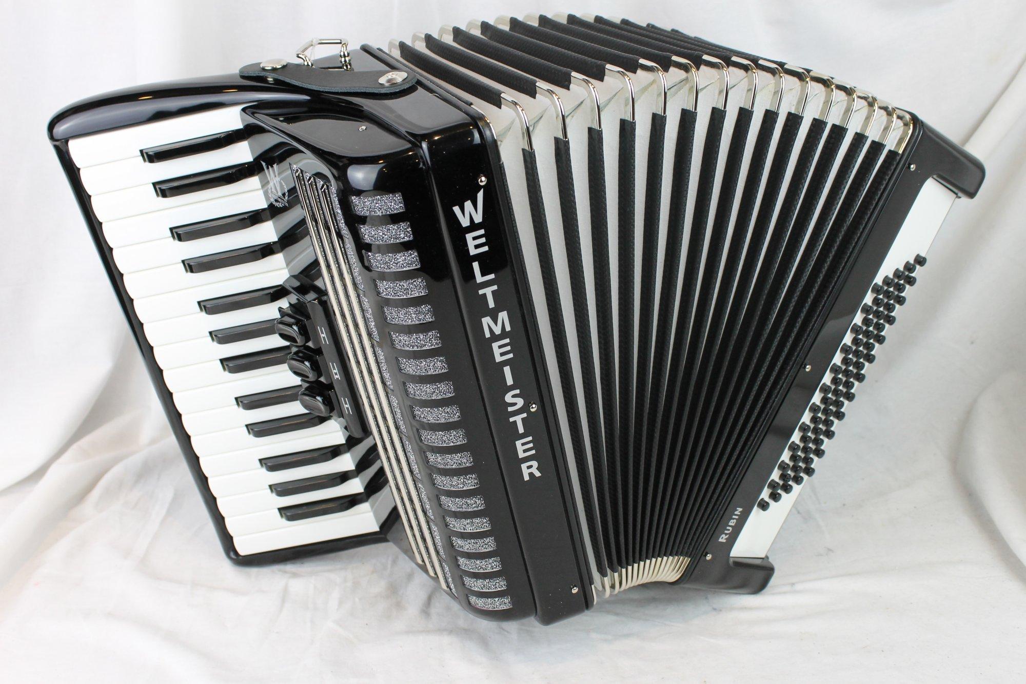 NEW Black Weltmeister Rubin Piano Accordion MM 30 60