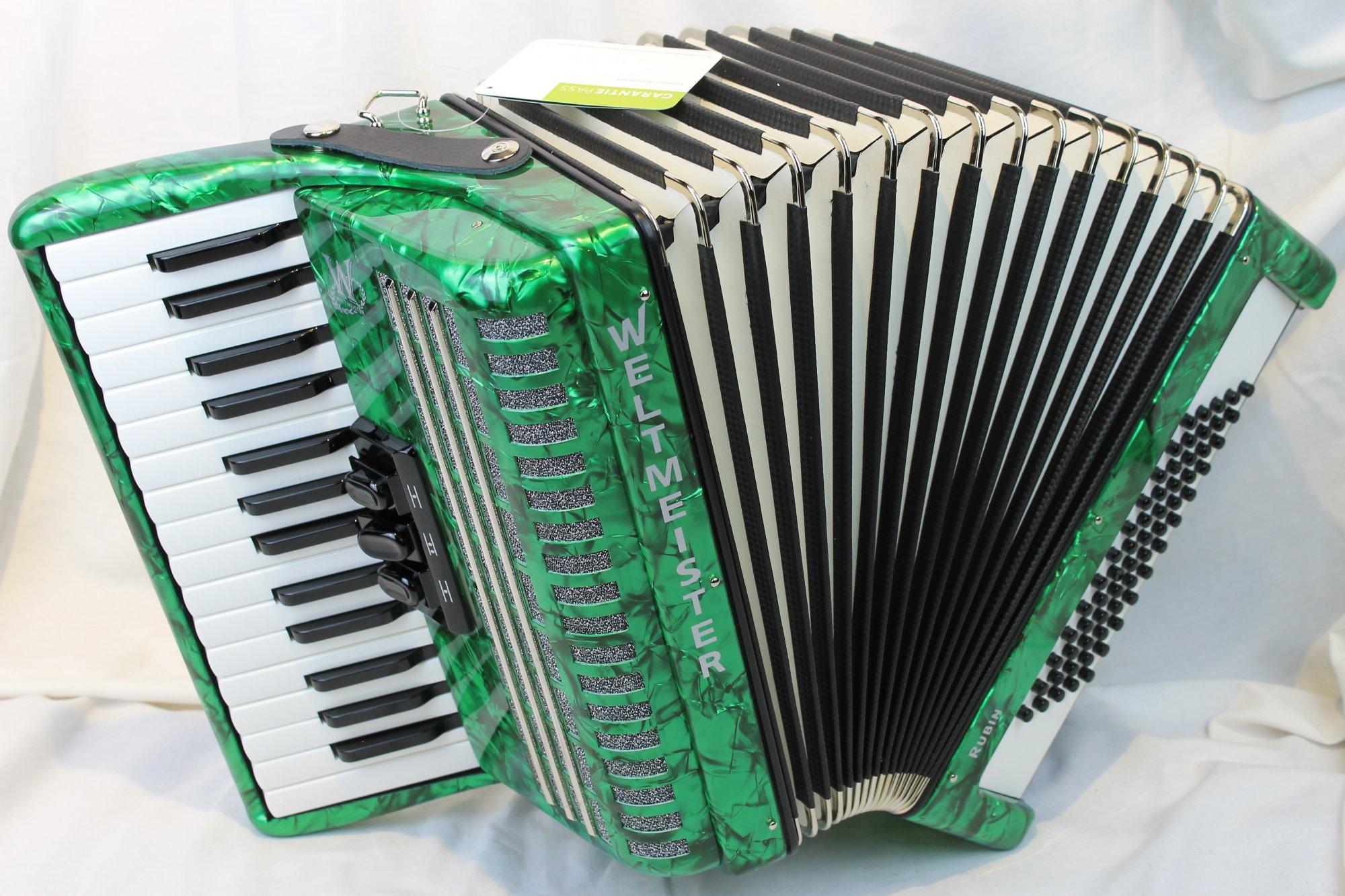NEW Green Weltmeister Rubin Piano Accordion MM 30 60