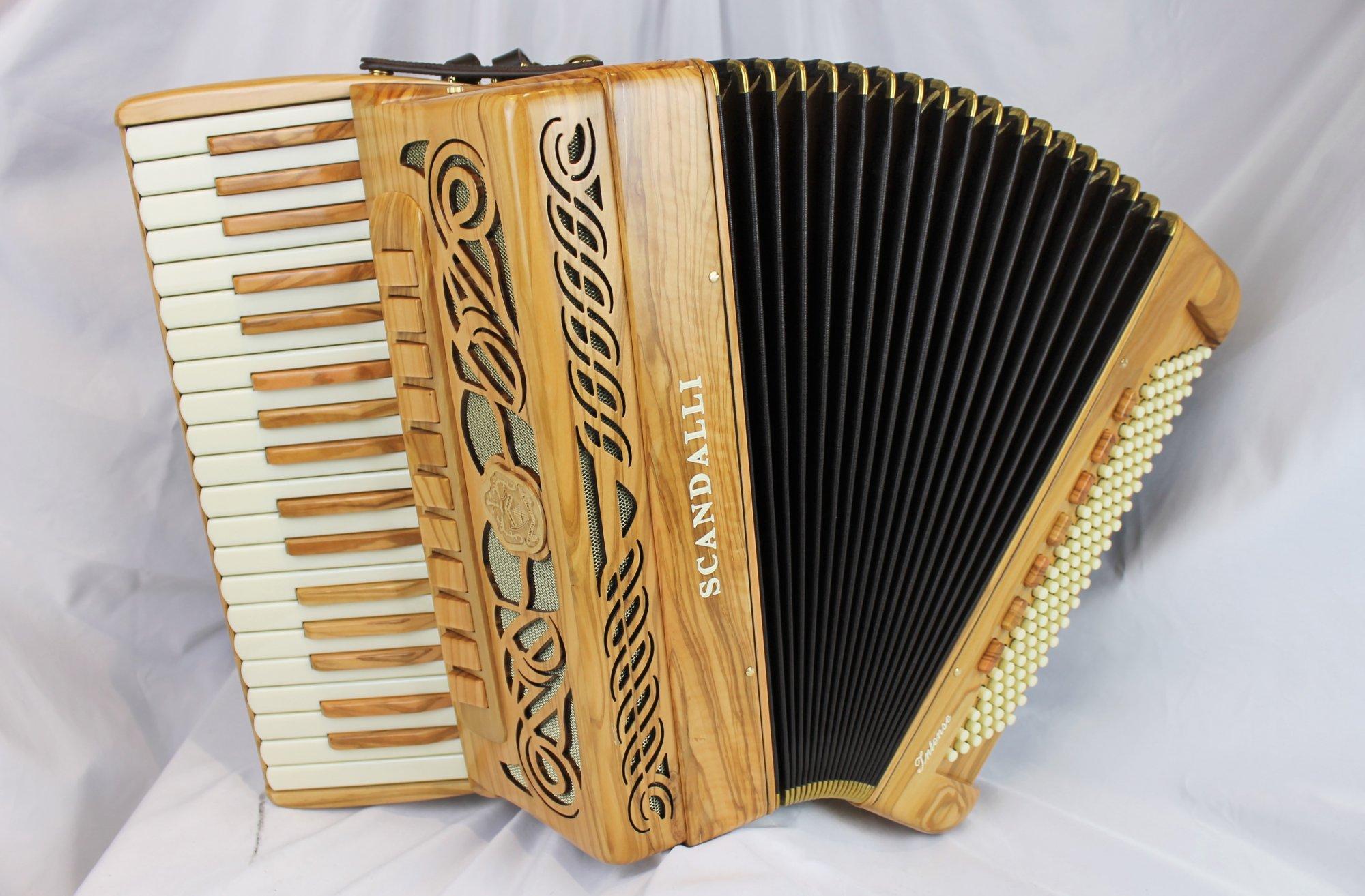 NEW Olive Wood Scandalli Intense 37 Piano Accordion LMMH 37 120