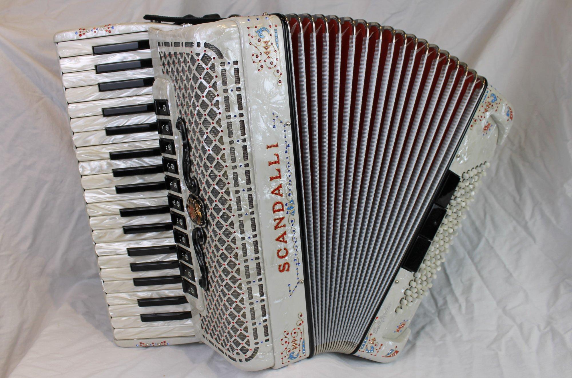 NEW White Decorated Scandalli Polifonico IX Piano Accordion LMMM 37 96