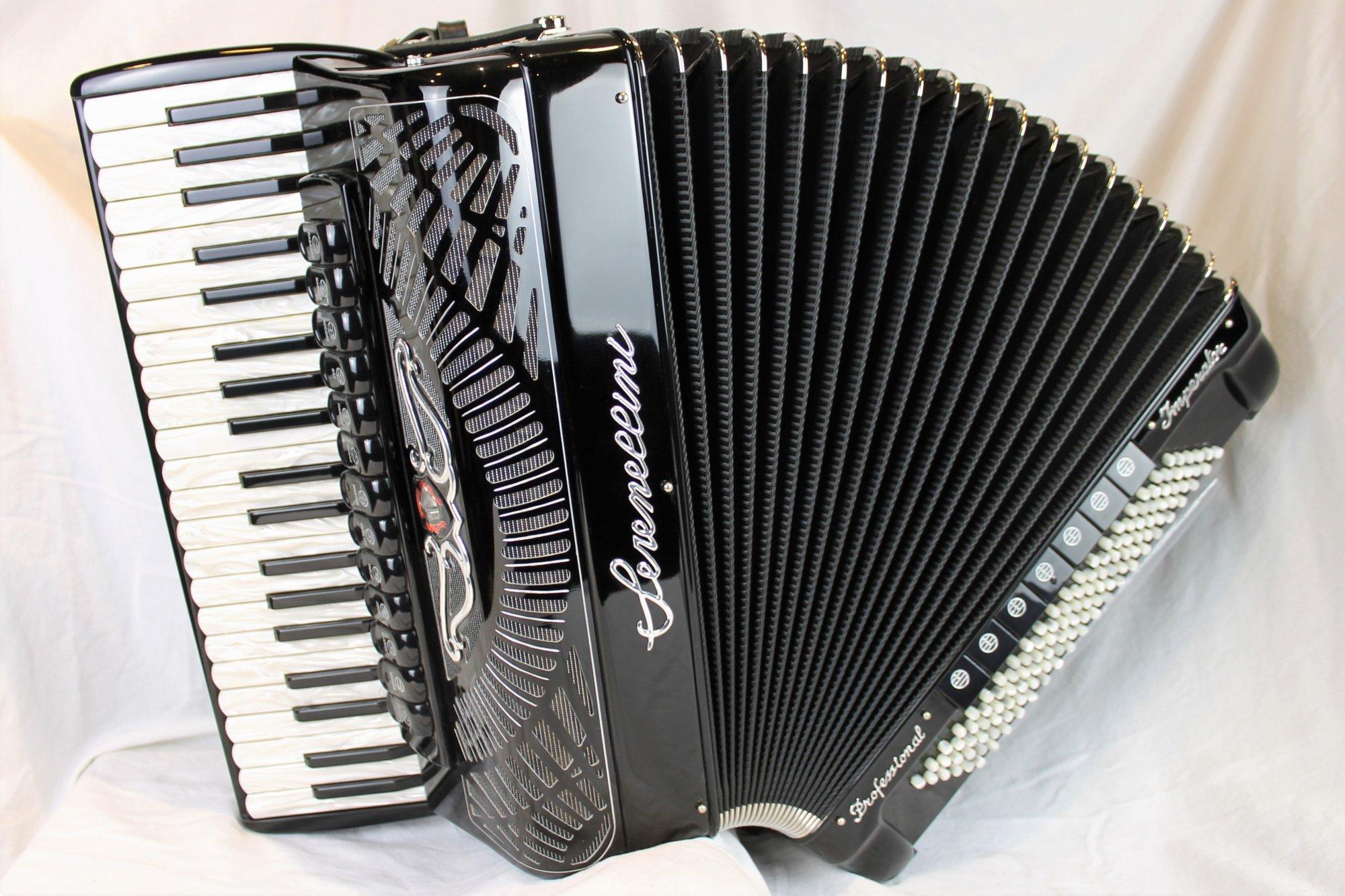 NEW Black Serenellini Imperator IV Silver Piano Accordion LMMH 41 120