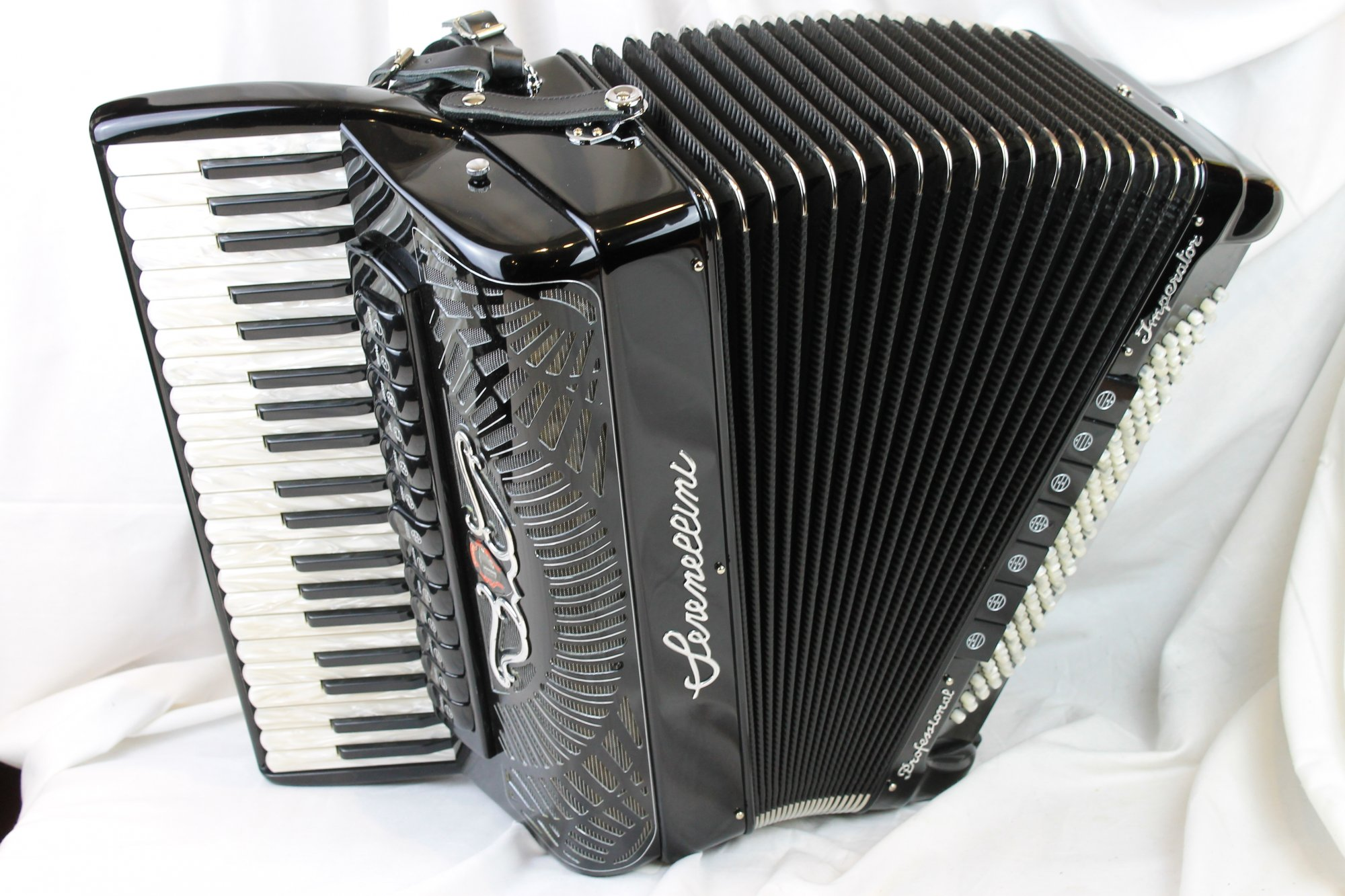 NEW Black Serenellini Imperator IV Silver Piano Accordion LMMH 41 120