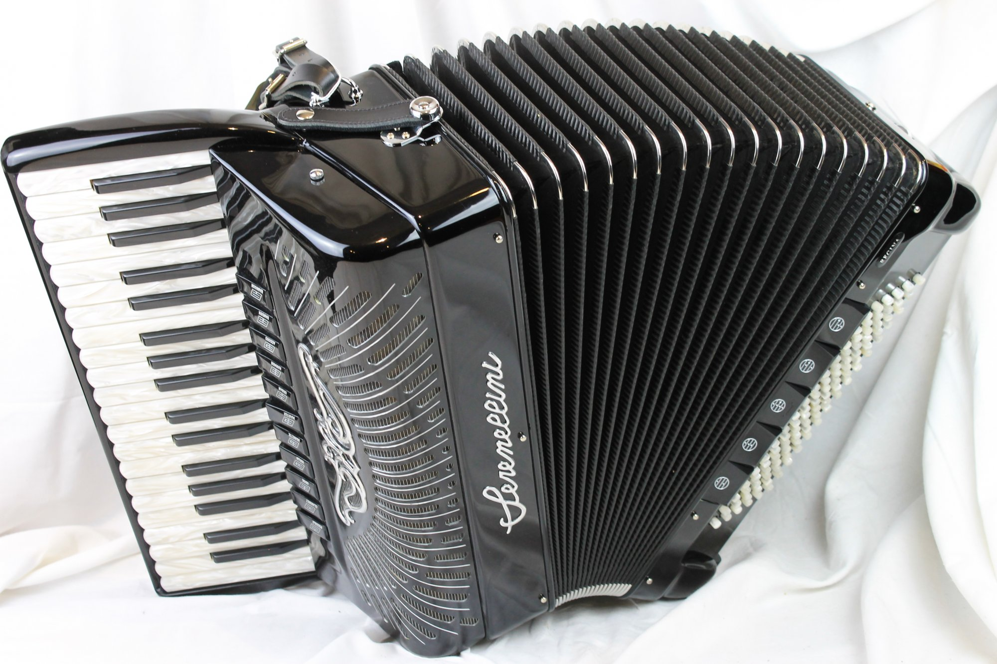 NEW- Black Serenellini Regina Silver Piano Accordion LMMH 37 96