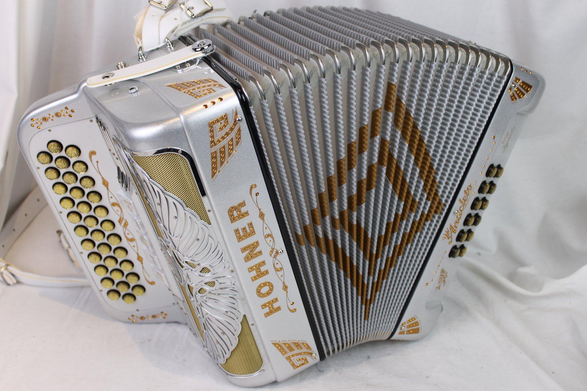 NEW Silver Sparkle Hohner Anacleto Rey Aguila III S Diatonic Button Accordion BINCI FBbEb Fa
