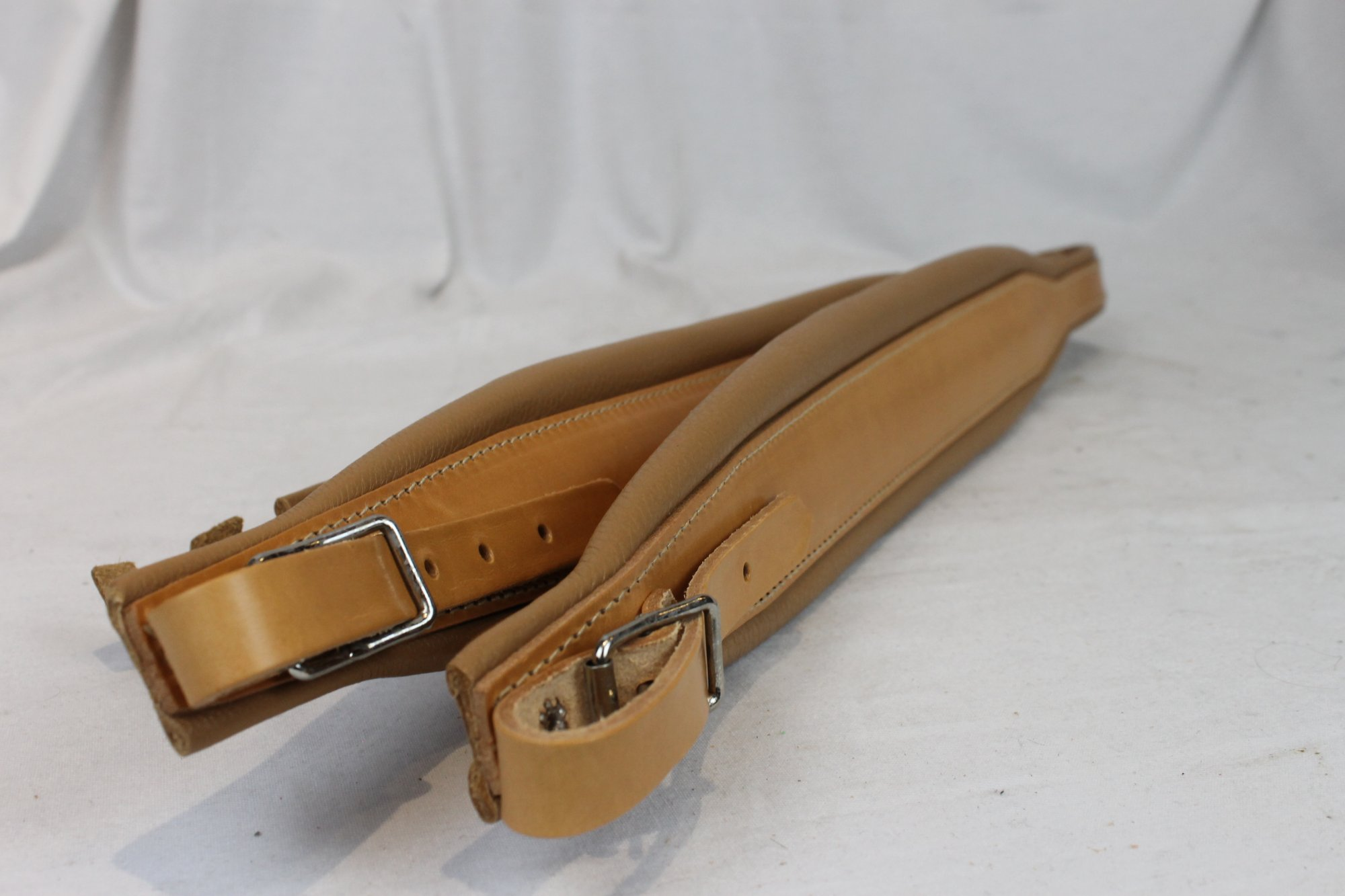 New Tan Leather Pelle Fuselli Accordion Shoulder Straps Width (7cm / 2.8in) Length (85~105cm / 33.5~41.3in)