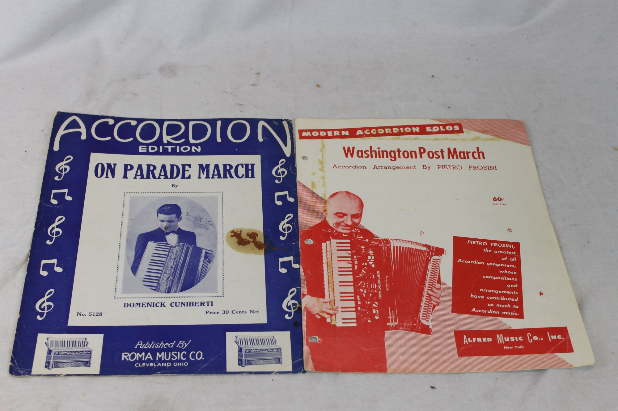 Lot of 2 Used Accordion Music Books and Sheets - Washington Post March, On Parade March