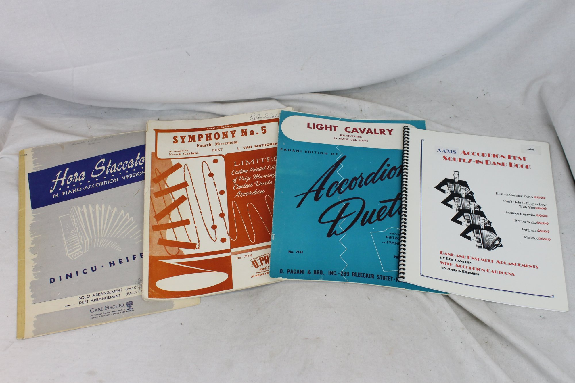 Lot of 4 Used Accordion Music Books and Sheets - Accordion Duet and Band Pieces