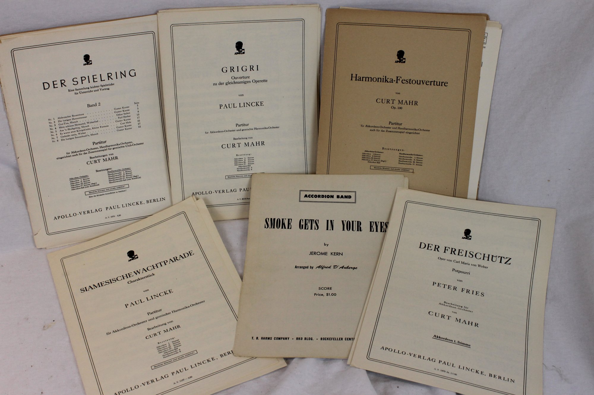 Vintage Accordion Band Pieces Mostly Complete Sheet Music Lot
