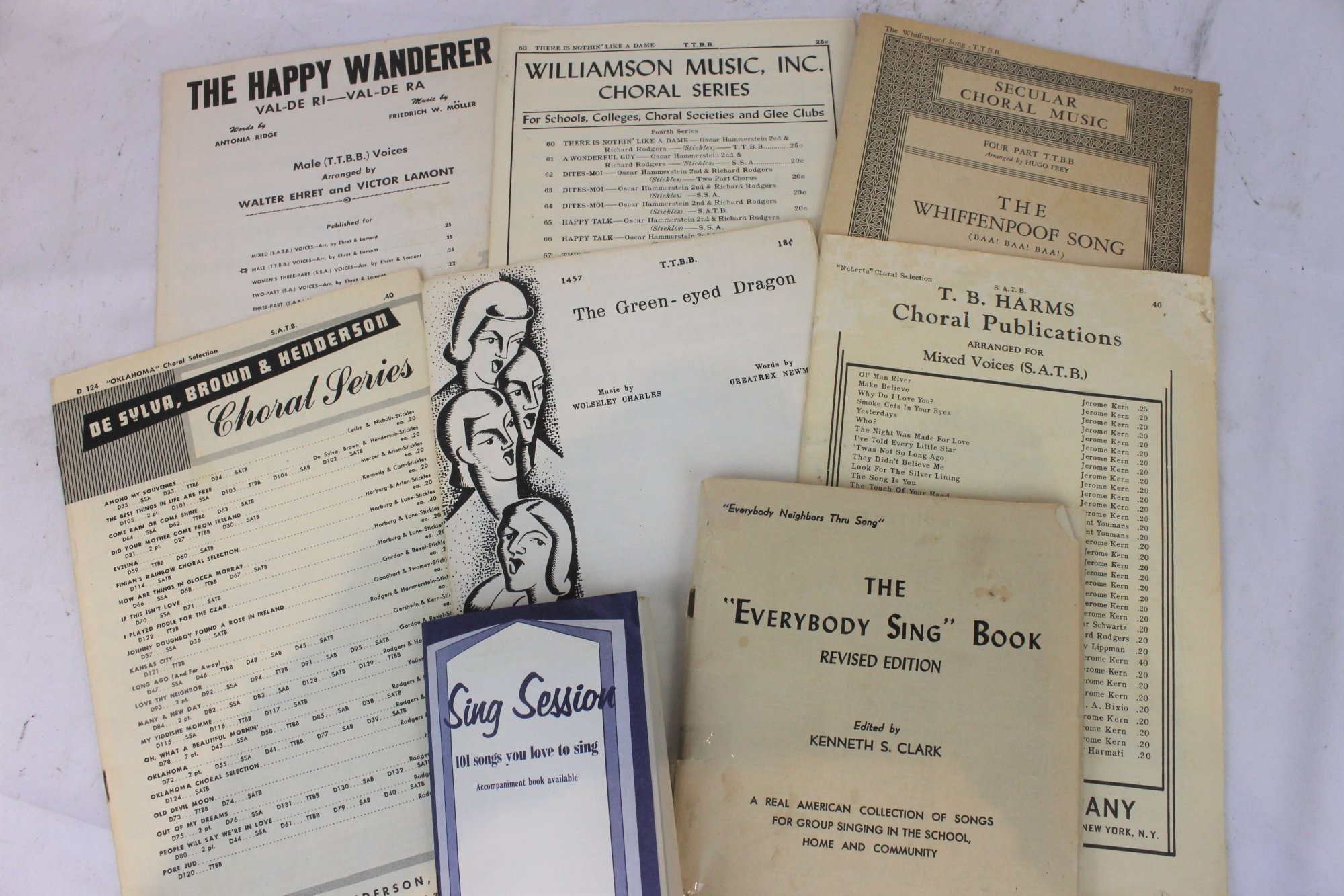 Lot of 8 Used Music Books and Sheets - Secular Choral Music